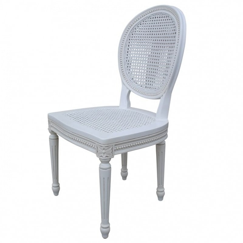 French Chateau White Rattan Dining Bedroom Chair La