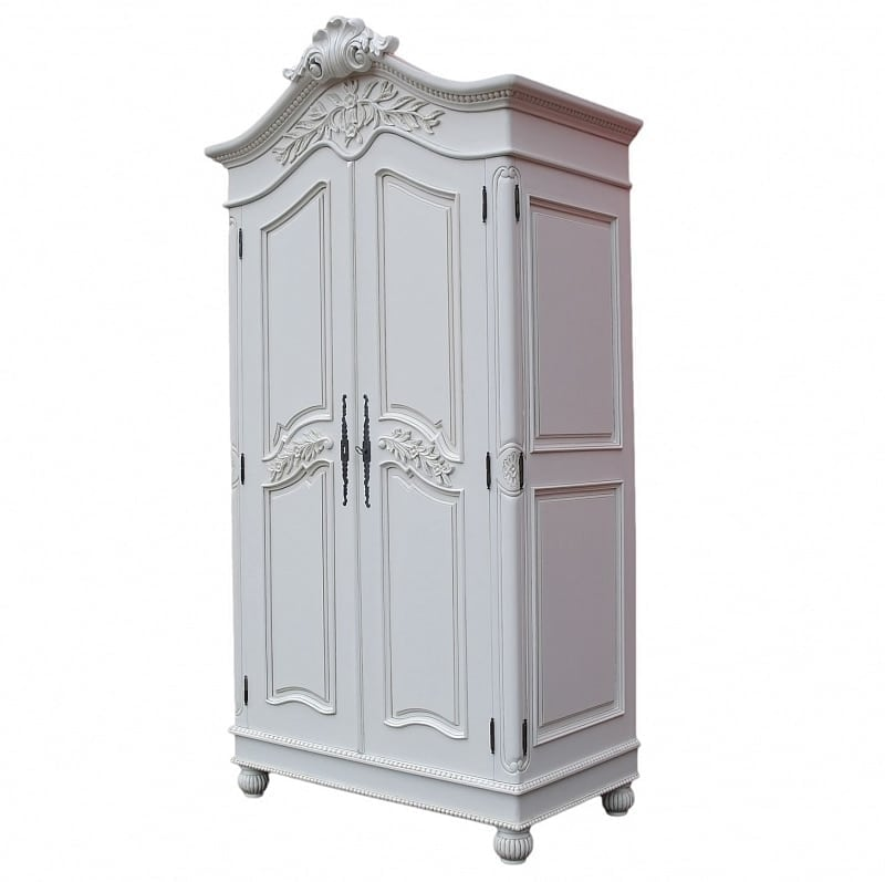French White Hand Carved Double Armoire Wardrobe