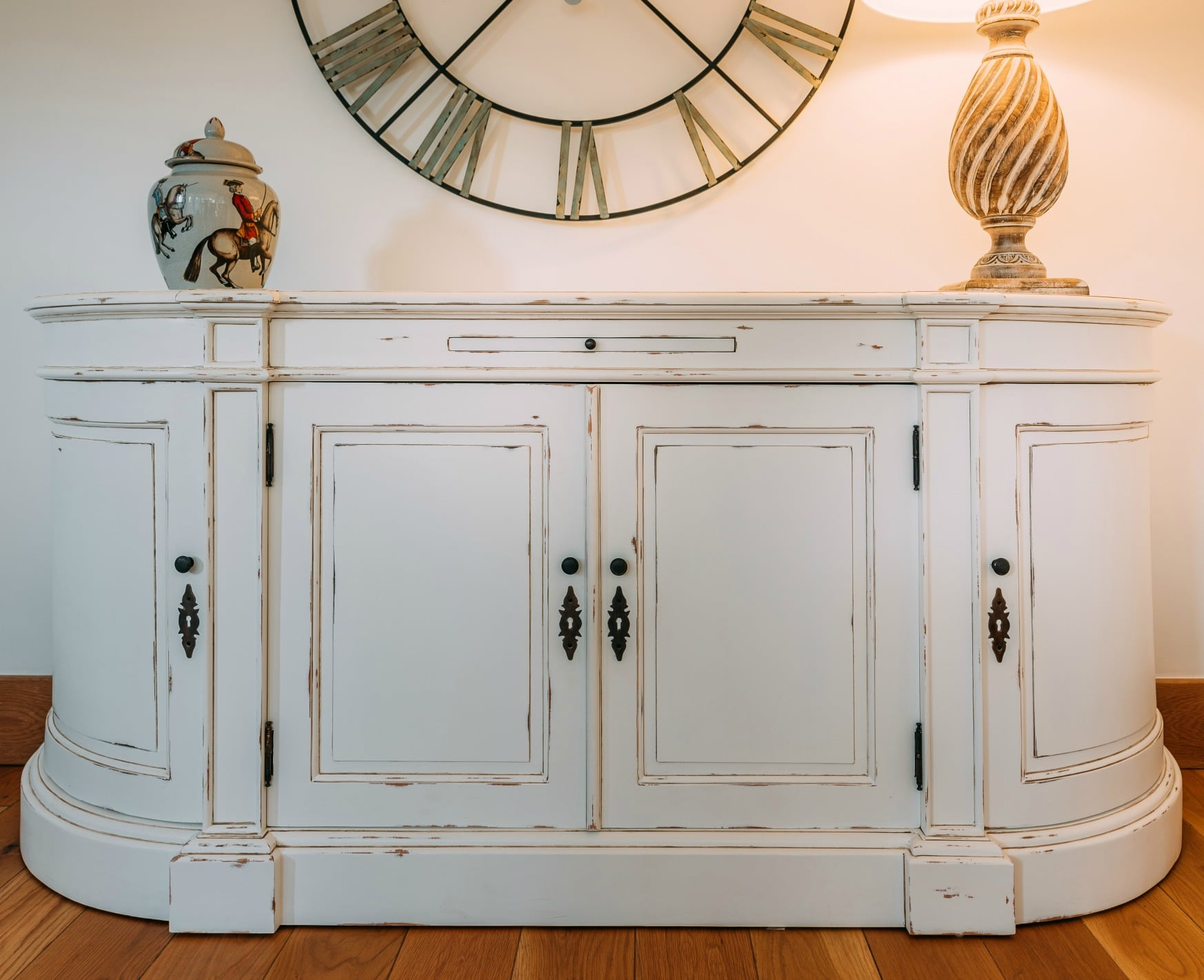 French Distressed White Large Sideboard Cabinet