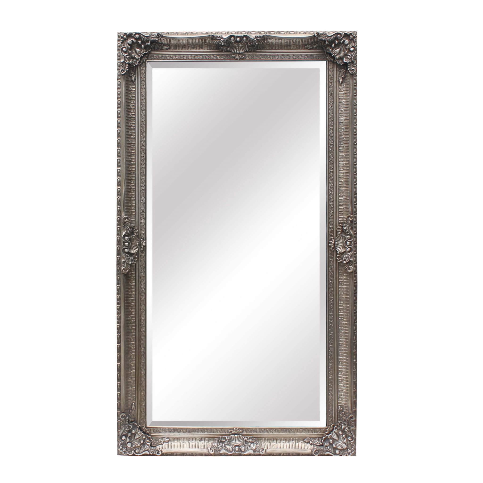 Francoise extra large ornate antiqued silver mirror la for Large silver mirror