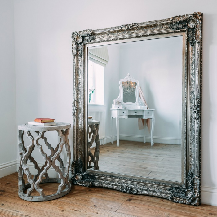 Maddelena large silver mirror la maison chic for Big silver mirror