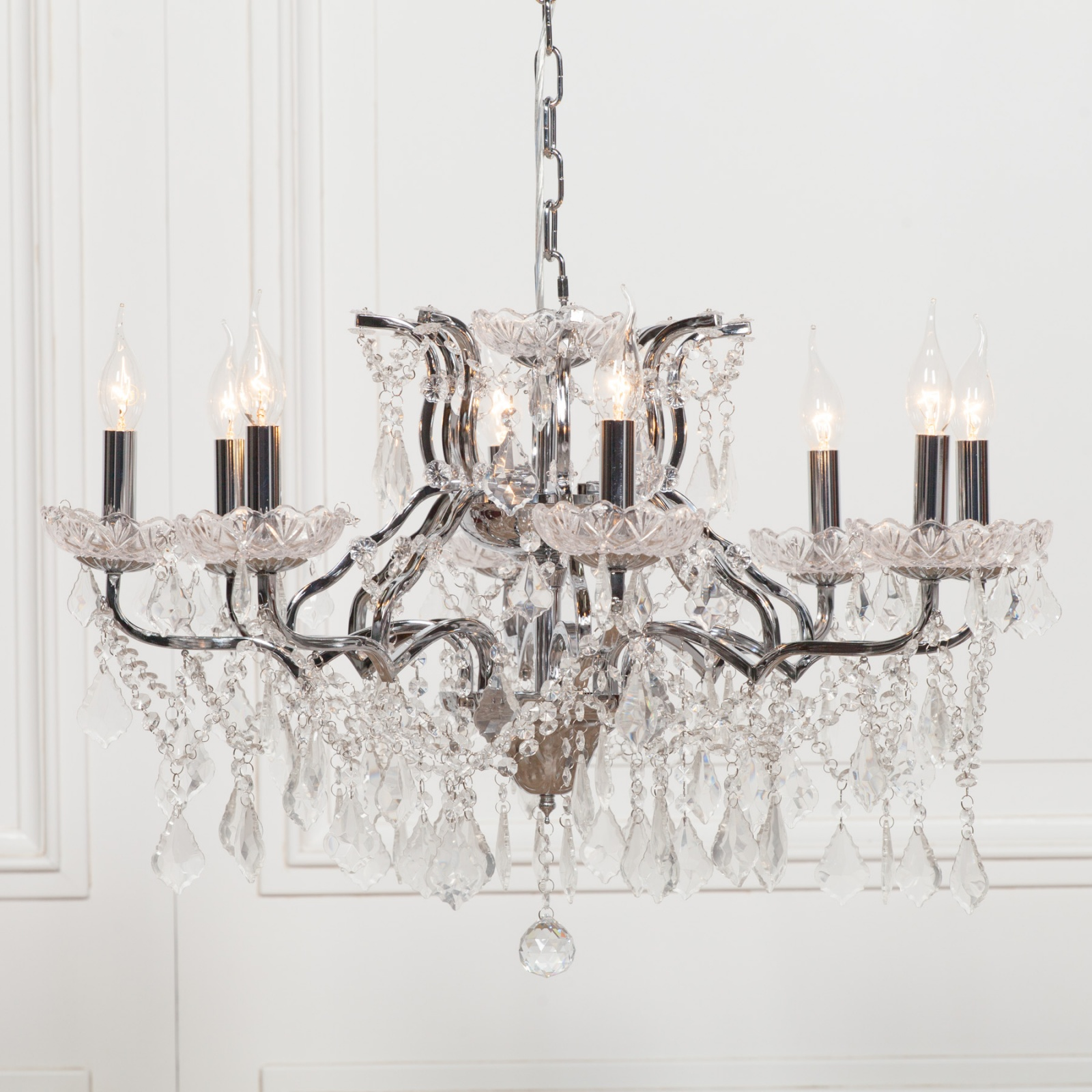 8 Branch Chrome Shallow Cut Glass Chandelier Furniture