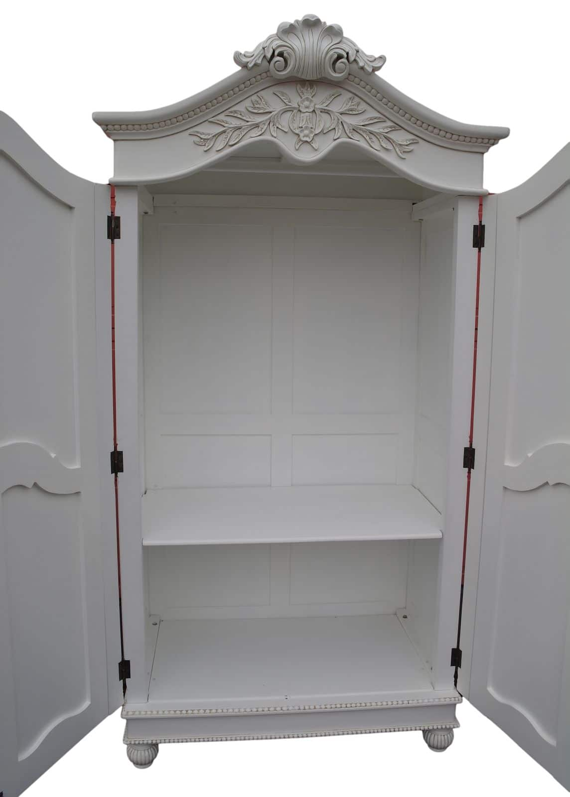French White Hand Carved Double Armoire Wardrobe Furniture La Maison Chic Luxury Interiors