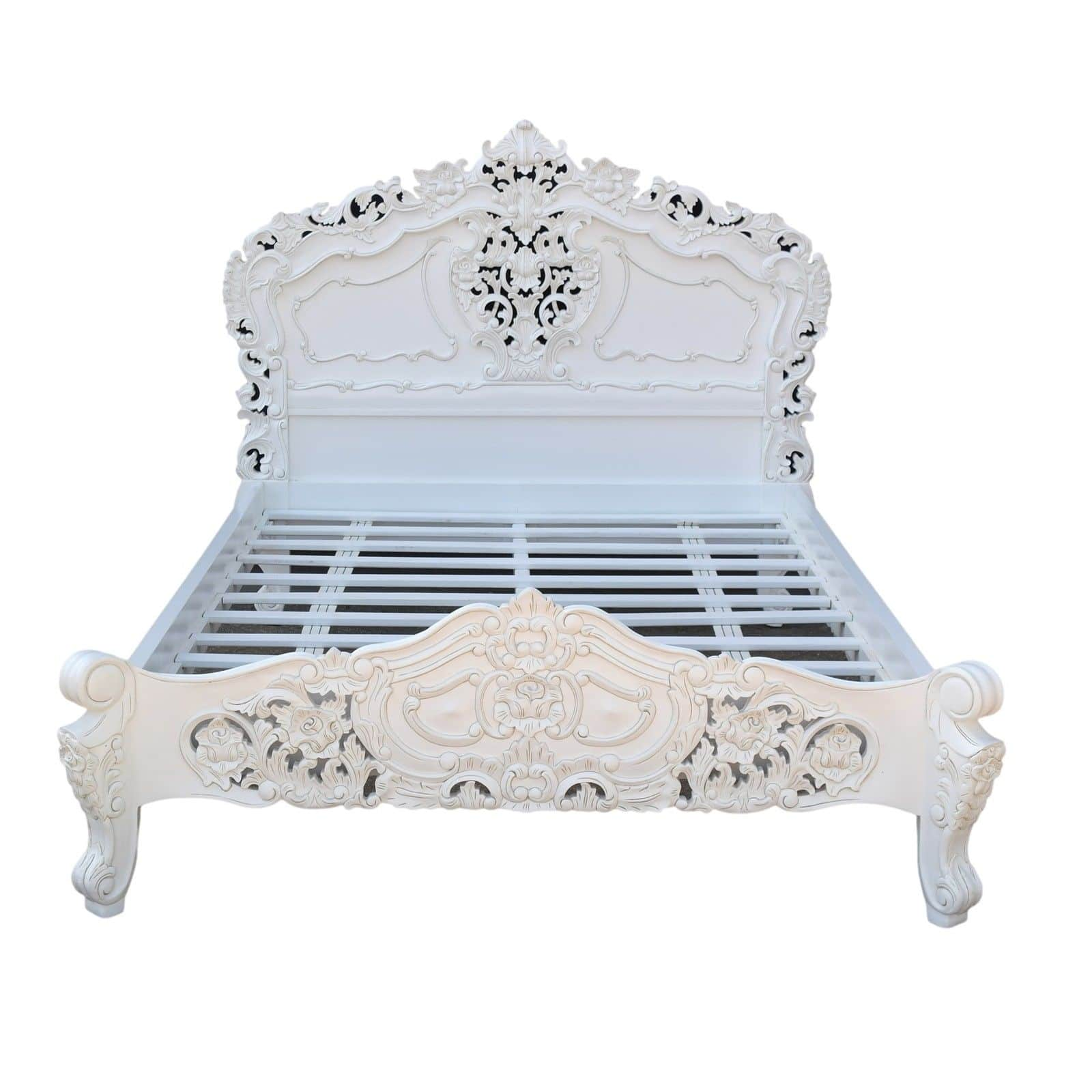 Hand Carved Bed: Rococo Hand Carved French White Super King 6ft Bed