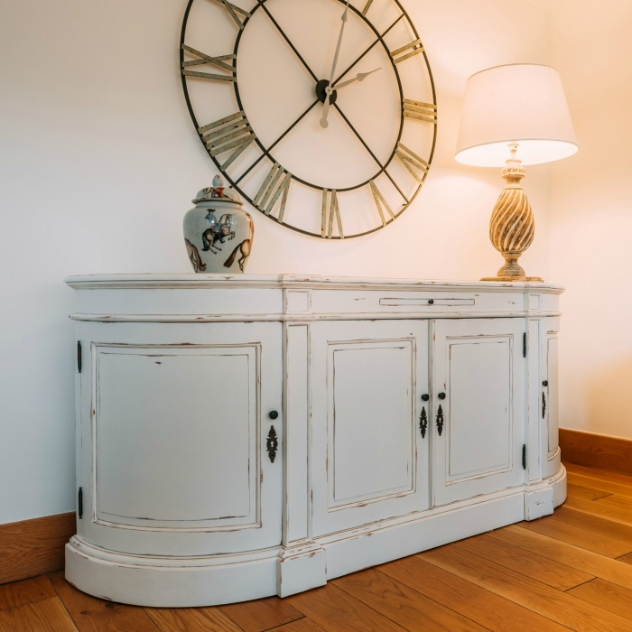 French Distressed White Large Sideboard Cabinet - La ...