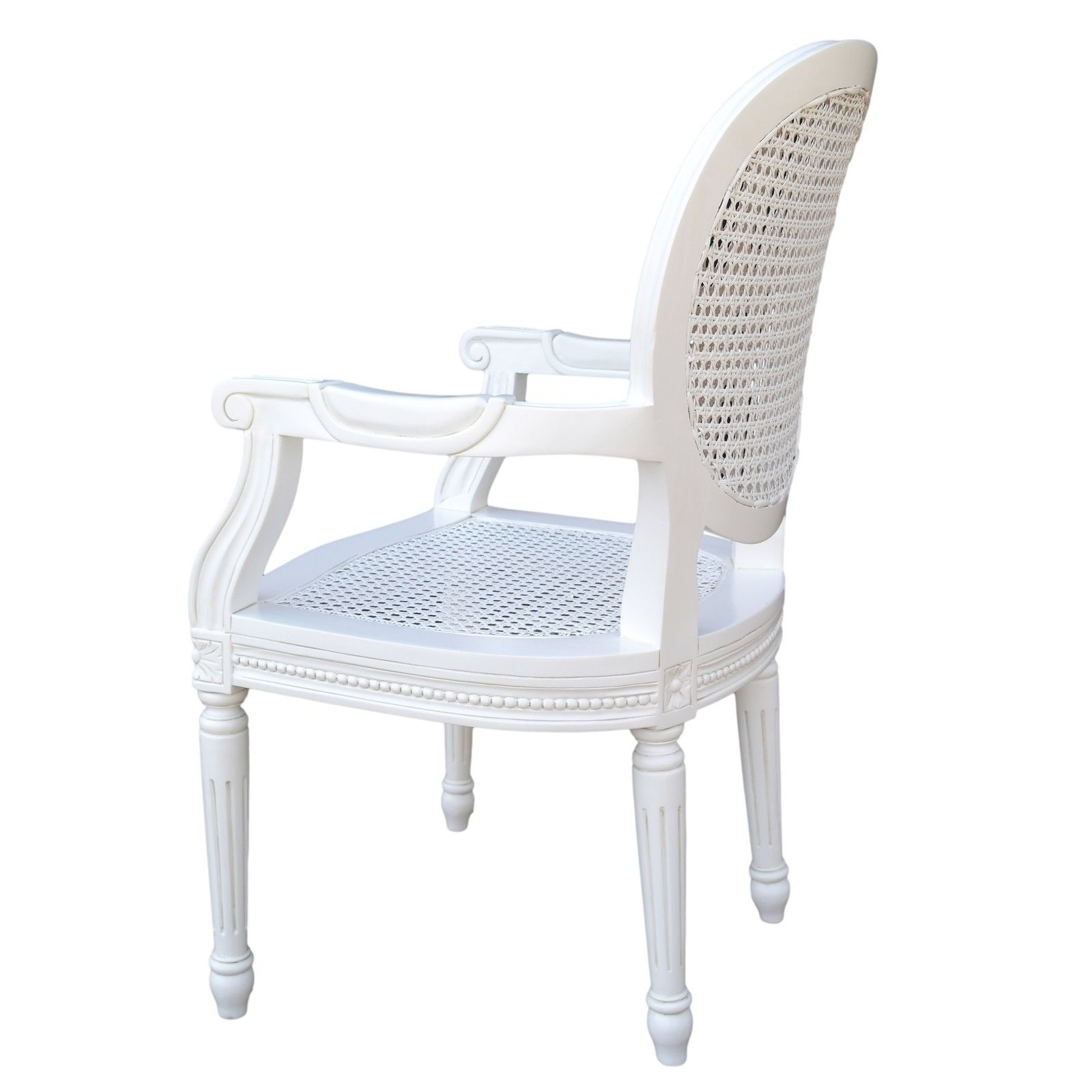 French Chateau White Rattan Dining / Bedroom Arm Chair ...