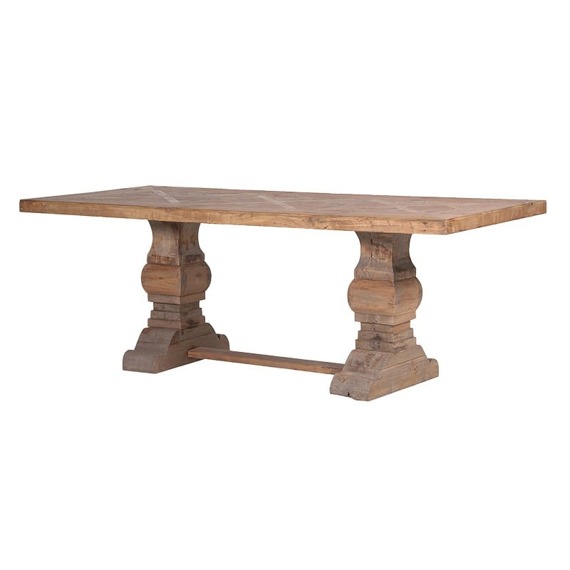 Reclaimed Wood Parquet Top Dining Table Furniture La