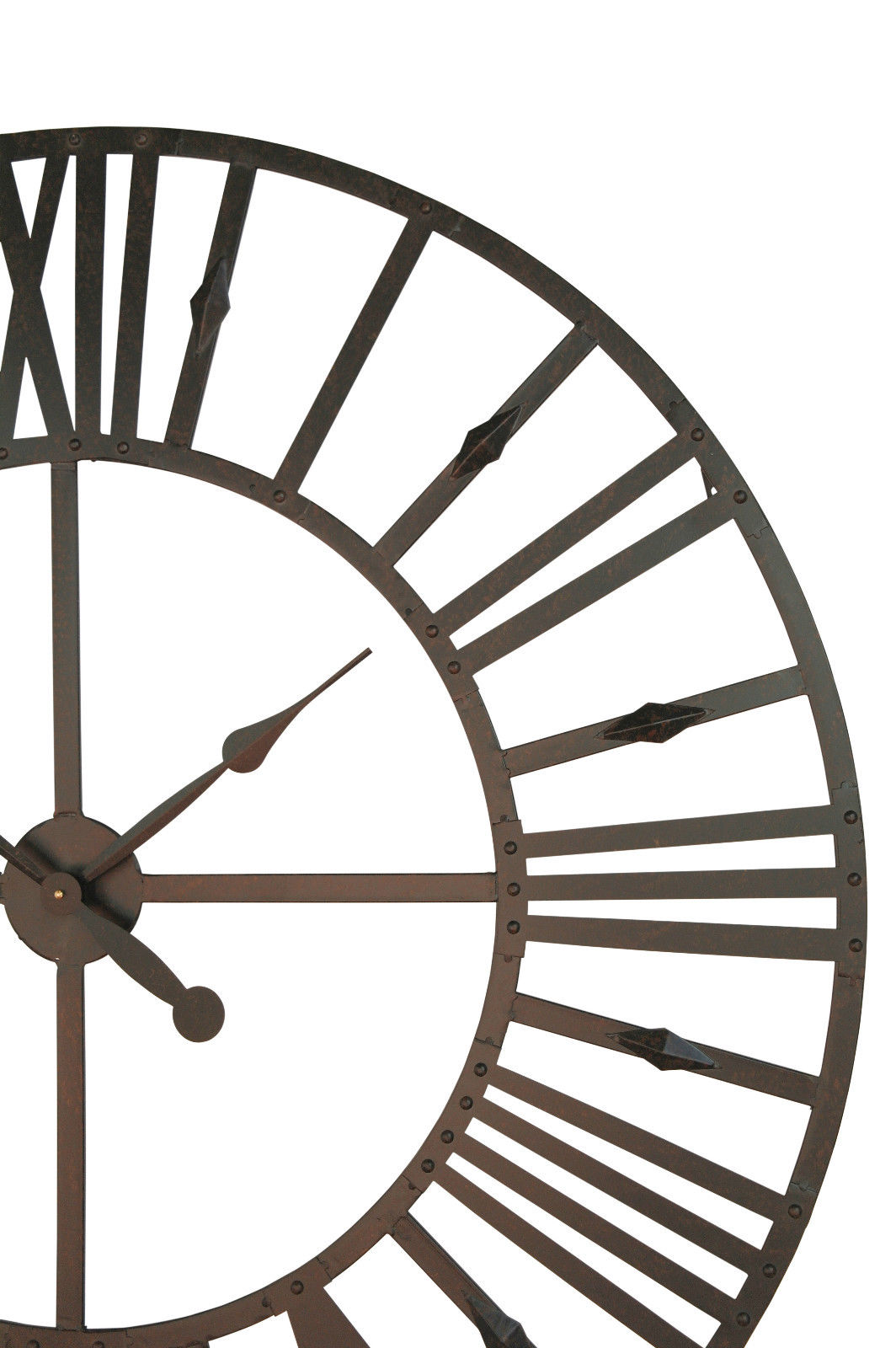 Rustic Large Roman Numerals Metal Wall Clock Furniture