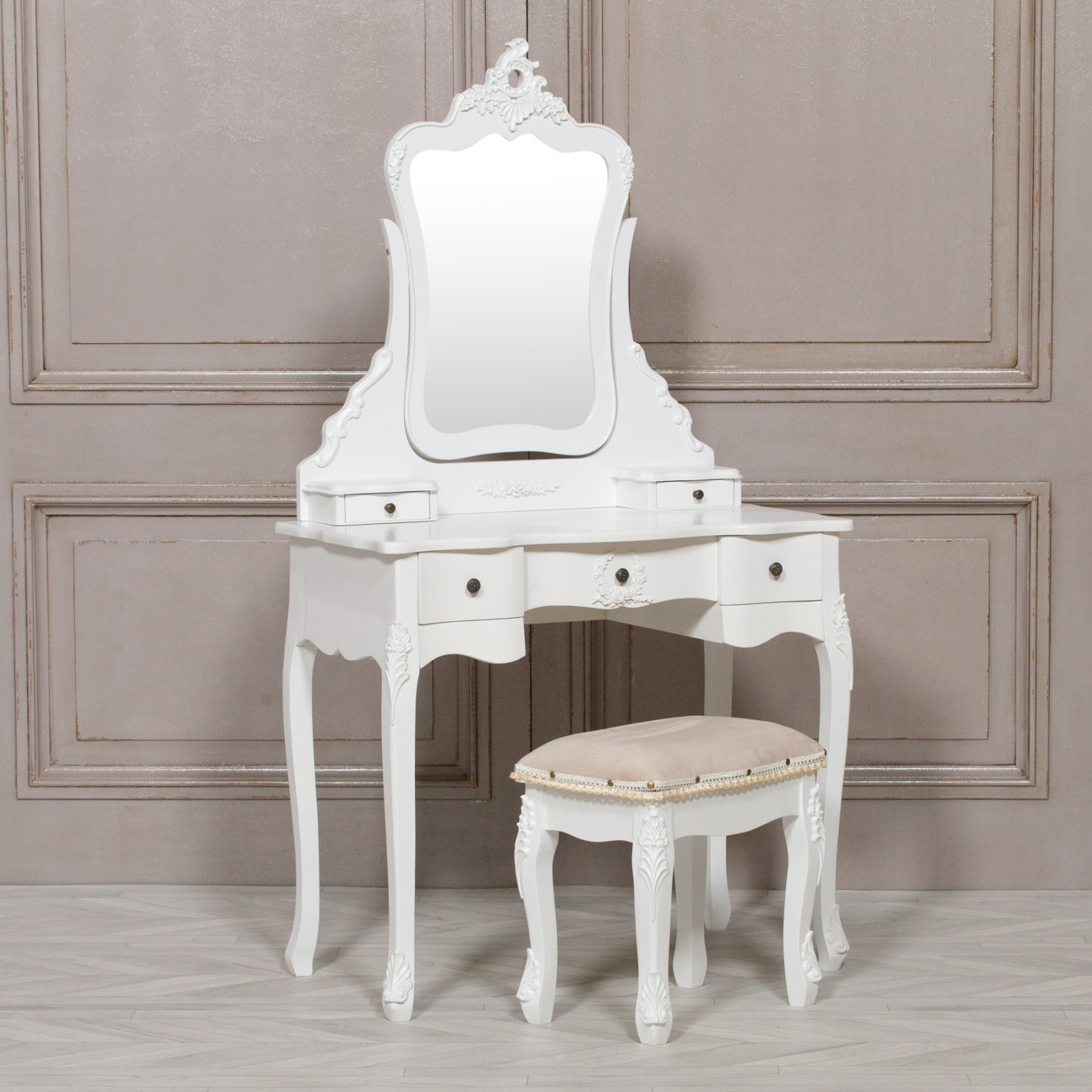 Annabelle French Style White Dressing Table And Stool