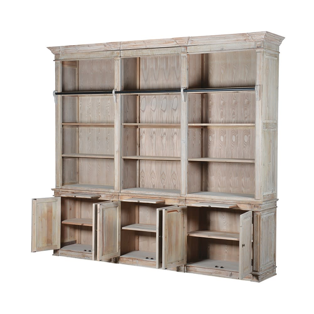 Aged Extra Large Rivieren Bookcase With Ladder Furniture
