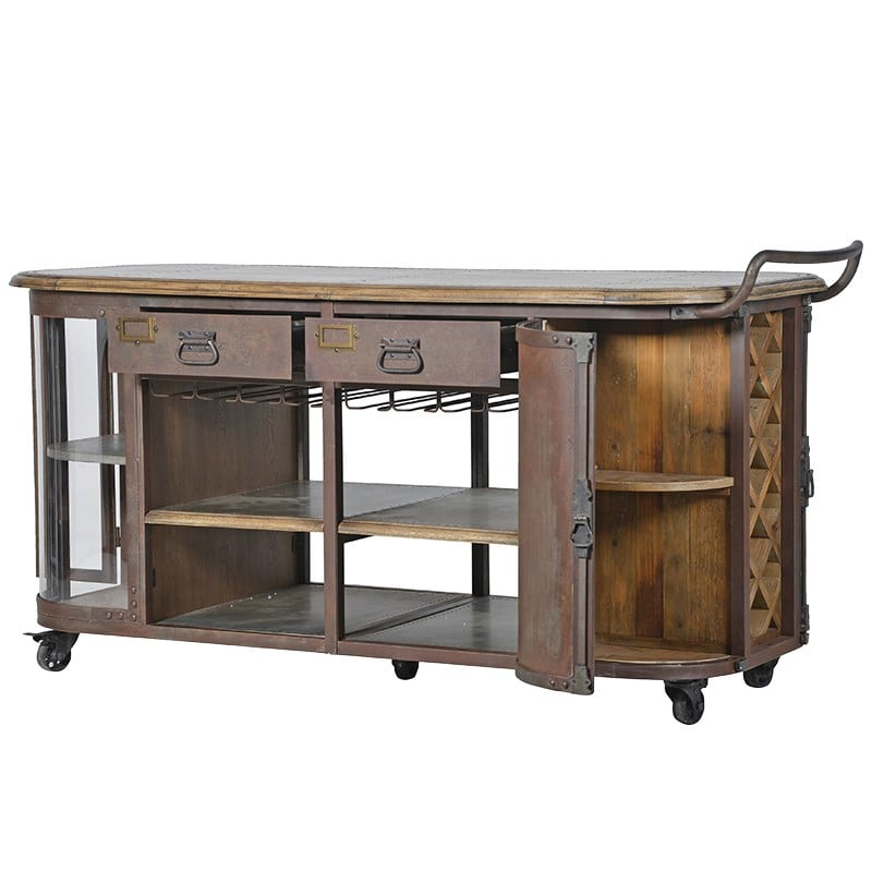 metal kitchen island on wheels furniture la maison chic luxury interiors. Black Bedroom Furniture Sets. Home Design Ideas
