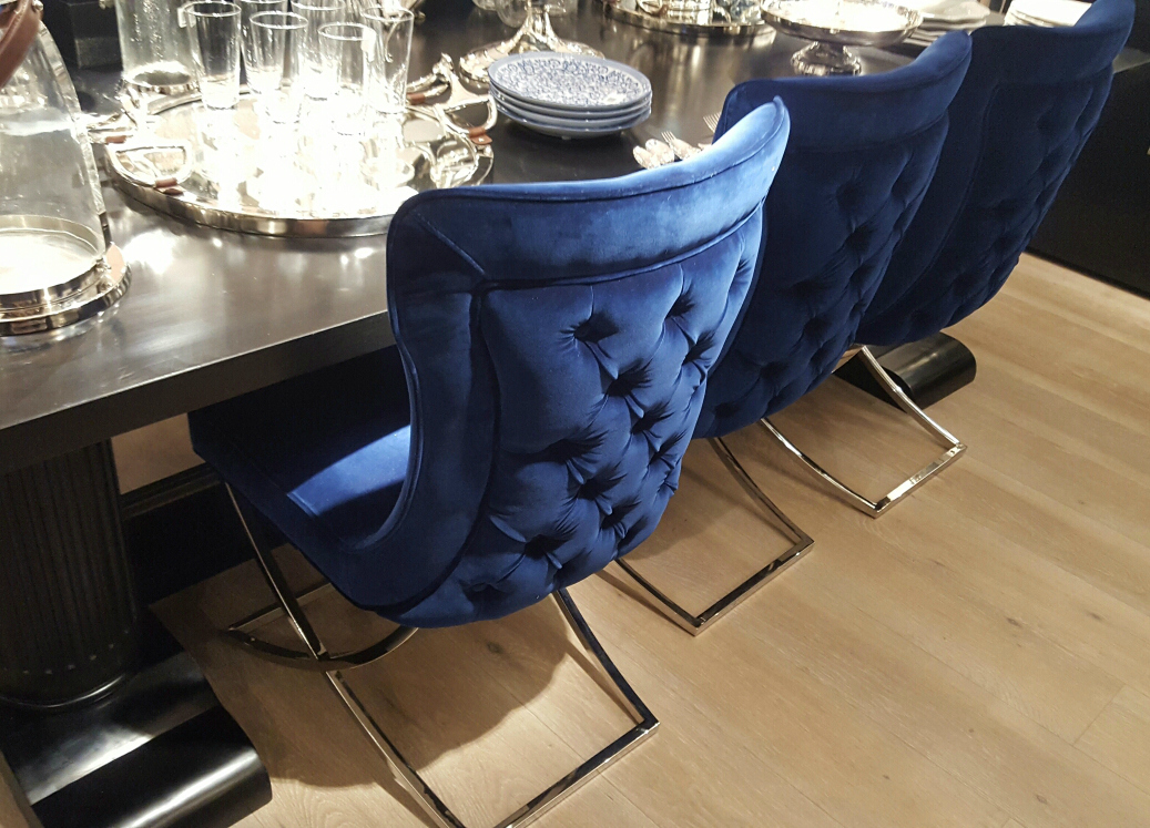 Navy Larsson Buttoned Dining Chair Furniture La Maison