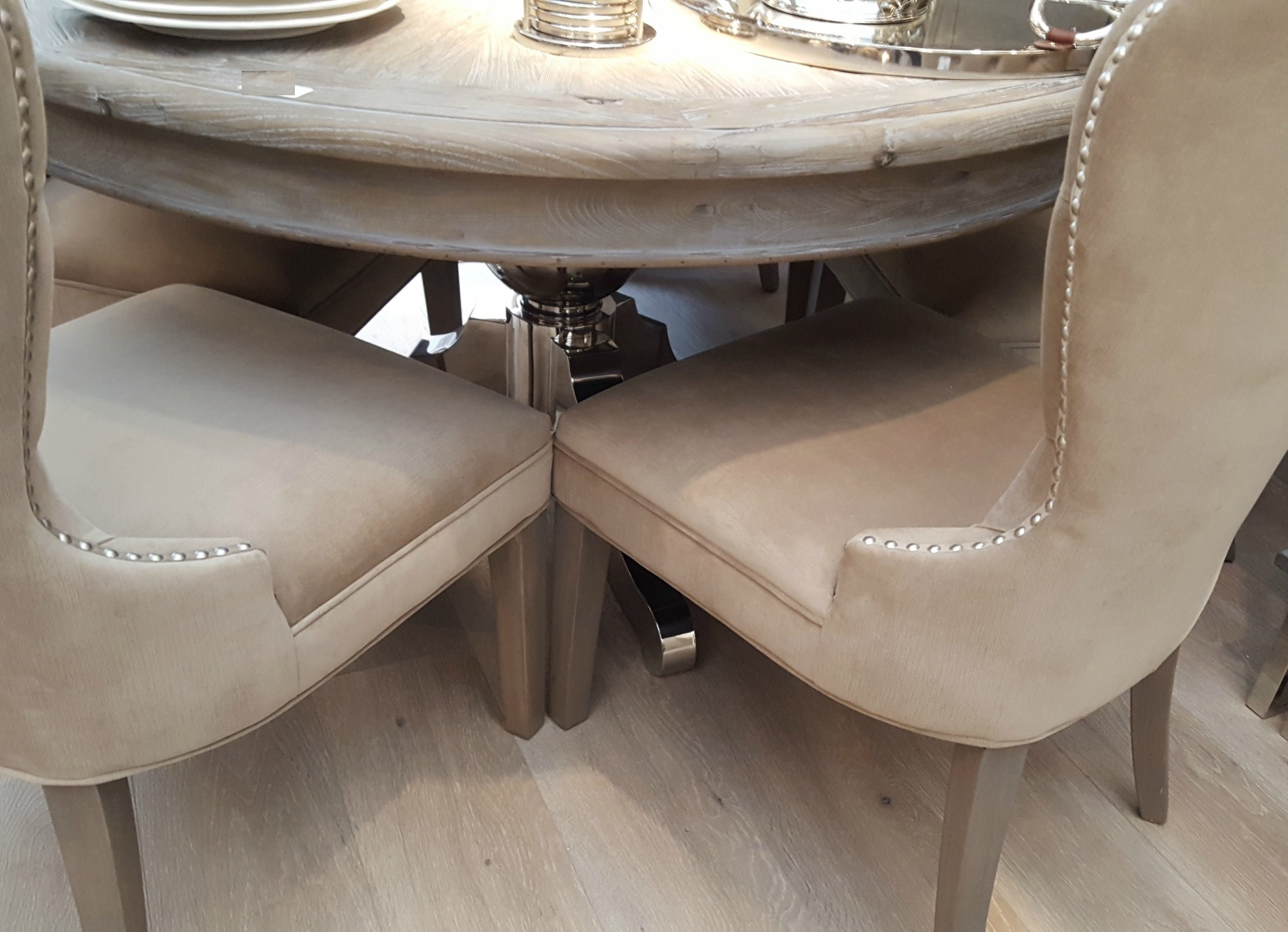 Round Dining Table With Metal Base Furniture La Maison Chic Luxury Interiors
