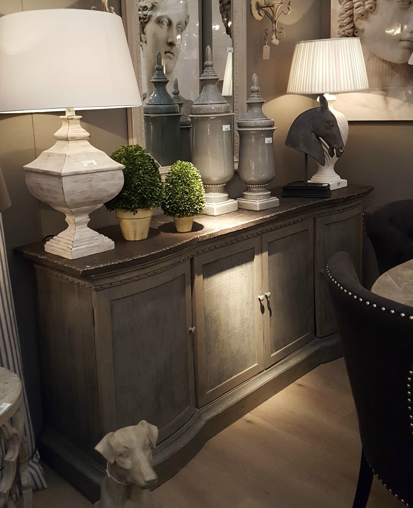 Rennes Stone Top Aged Sideboard Furniture La Maison Chic