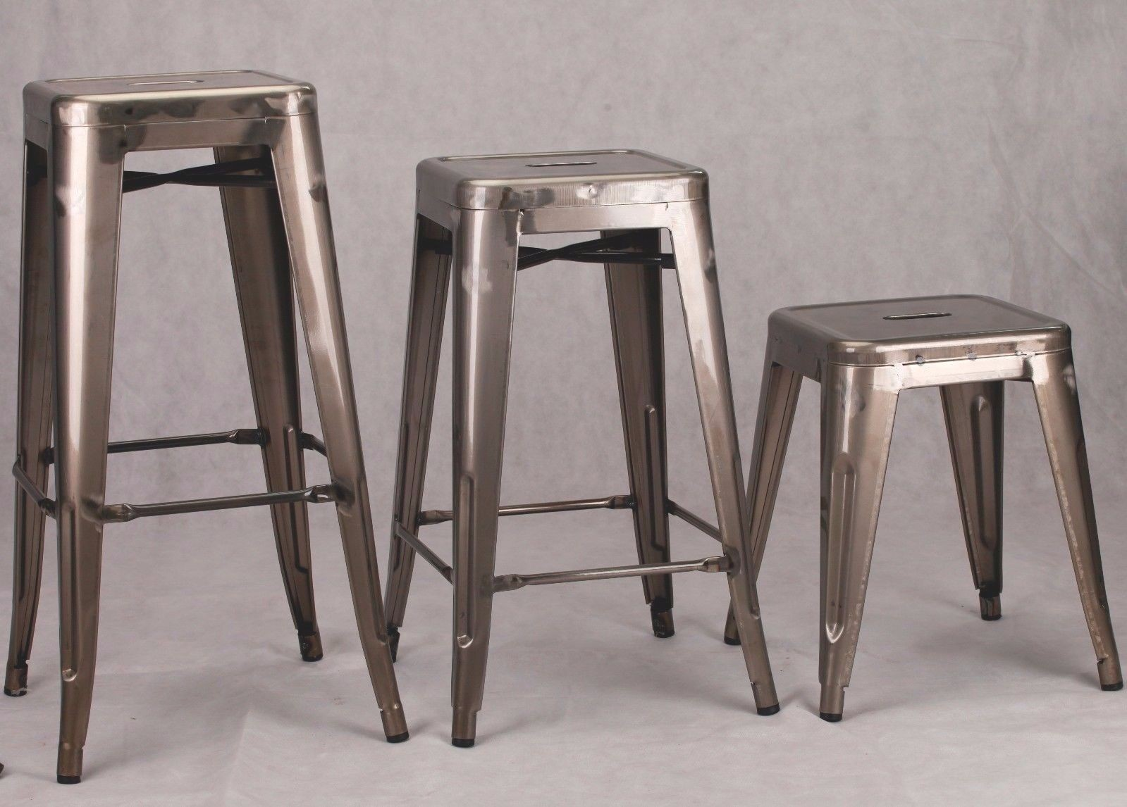 Industrial Tolix Inspired Medium Metal Bar Stool Furniture