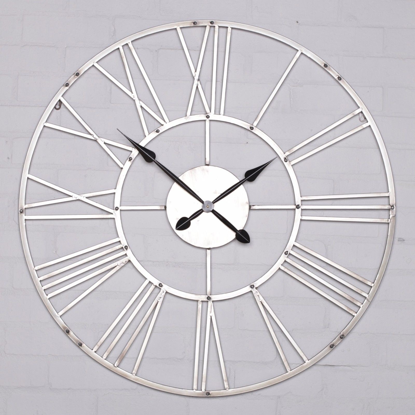 Aged Silver Metal Wall Clock Furniture La Maison Chic
