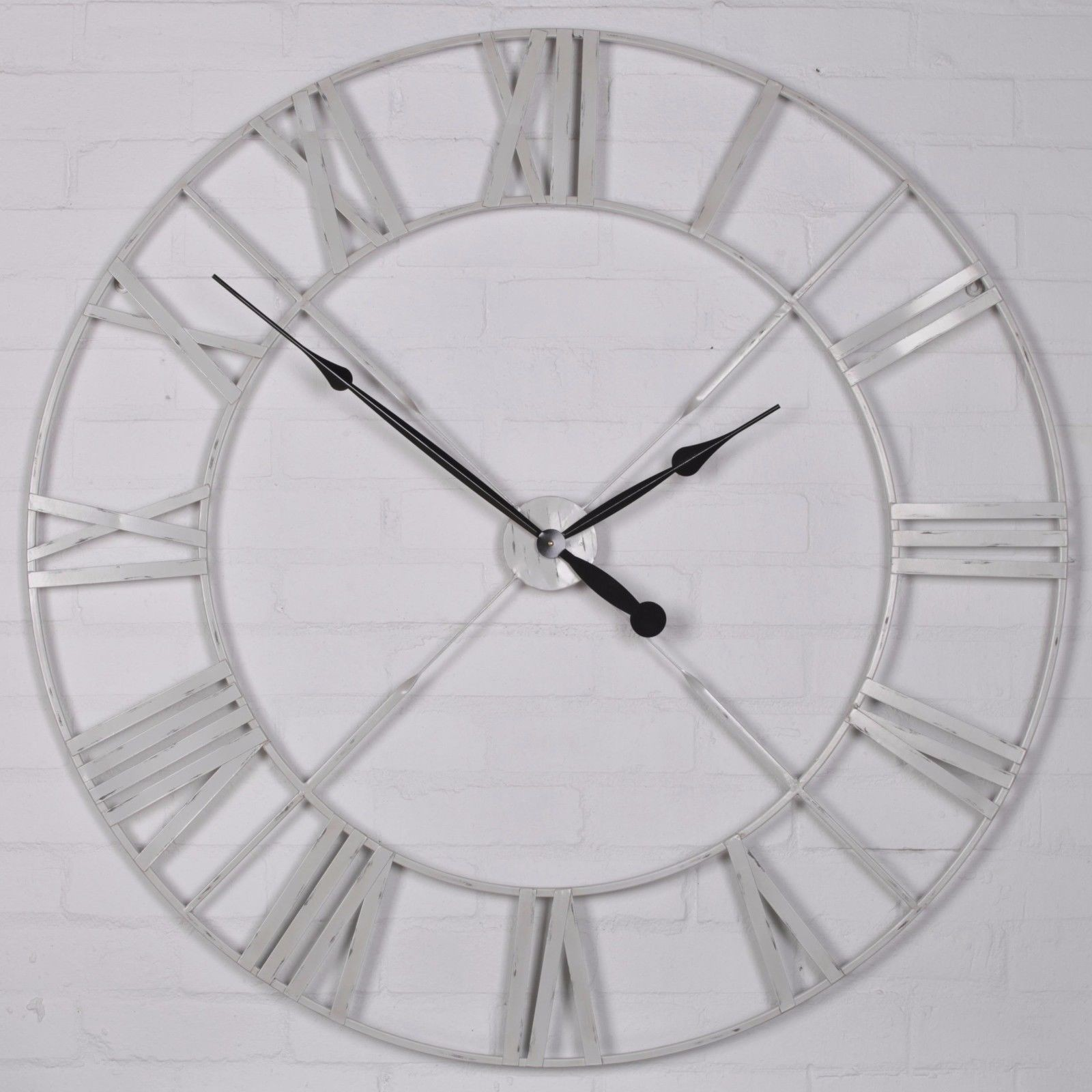 Distressed Off White Large Wall Clock Furniture La