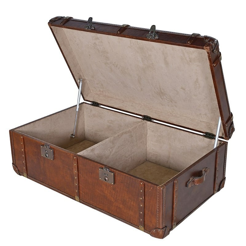 Gulliver S Trunk Coffee Table: Vintage Leather Trunk Coffee Table Furniture