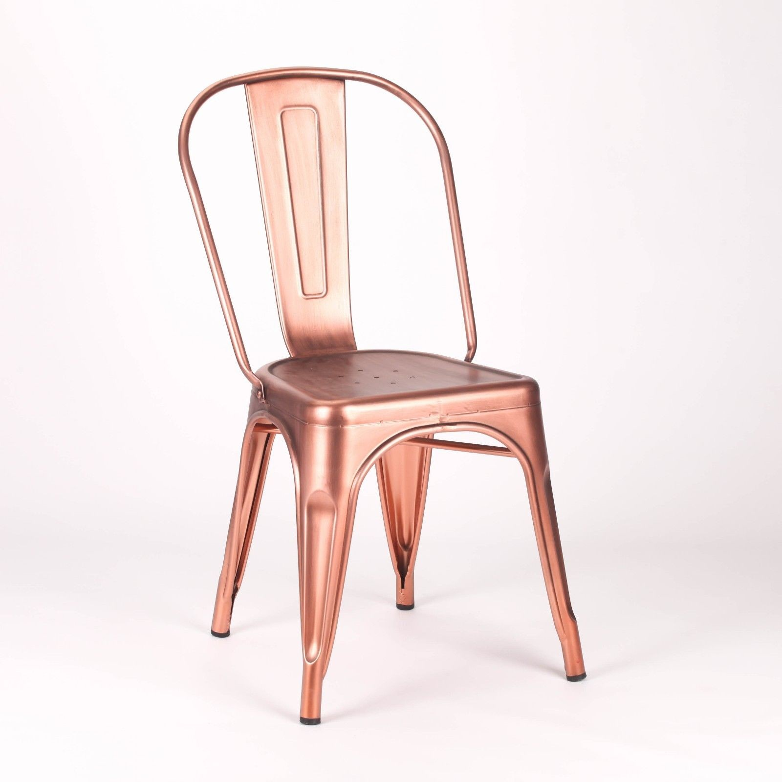 Vintage Tolix Style Metal Copper Industrial Dining Chair