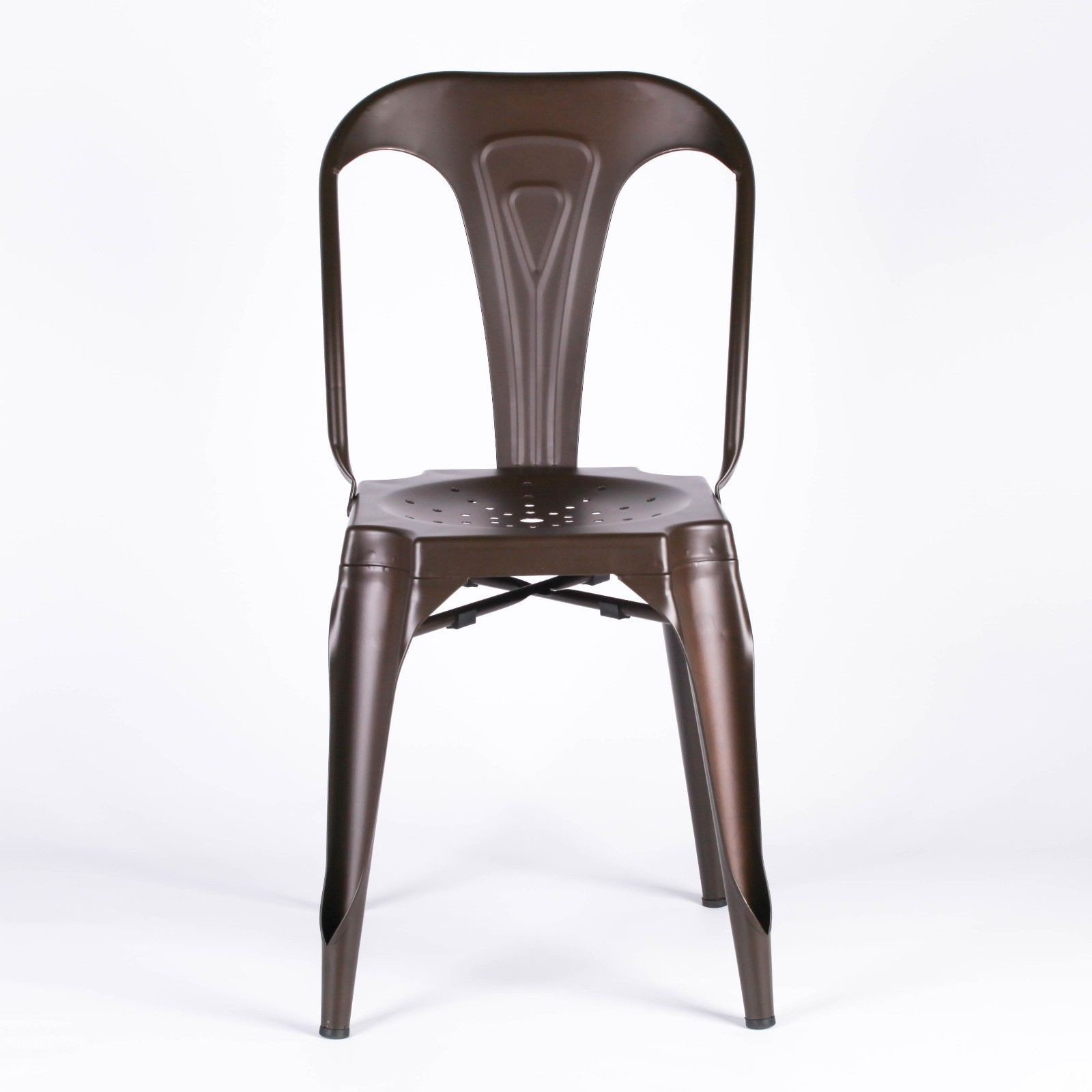 industrial tolix inspired metal zinc effect dining chair furniture la maison chic luxury interiors. Black Bedroom Furniture Sets. Home Design Ideas