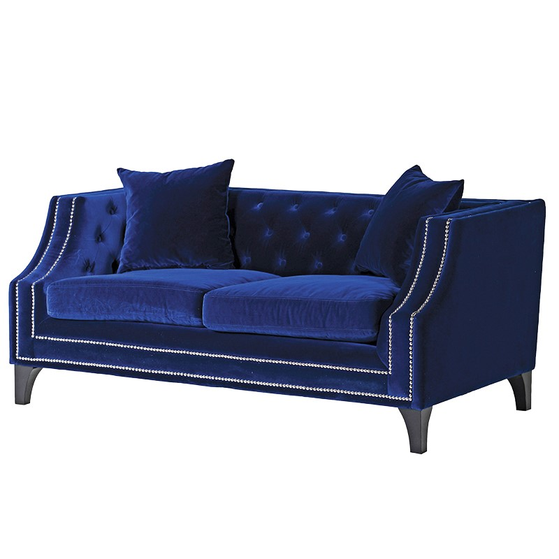 Magnificent Durrell Upholstered Blue Velvet Studded 2 Seater Sofa Alphanode Cool Chair Designs And Ideas Alphanodeonline