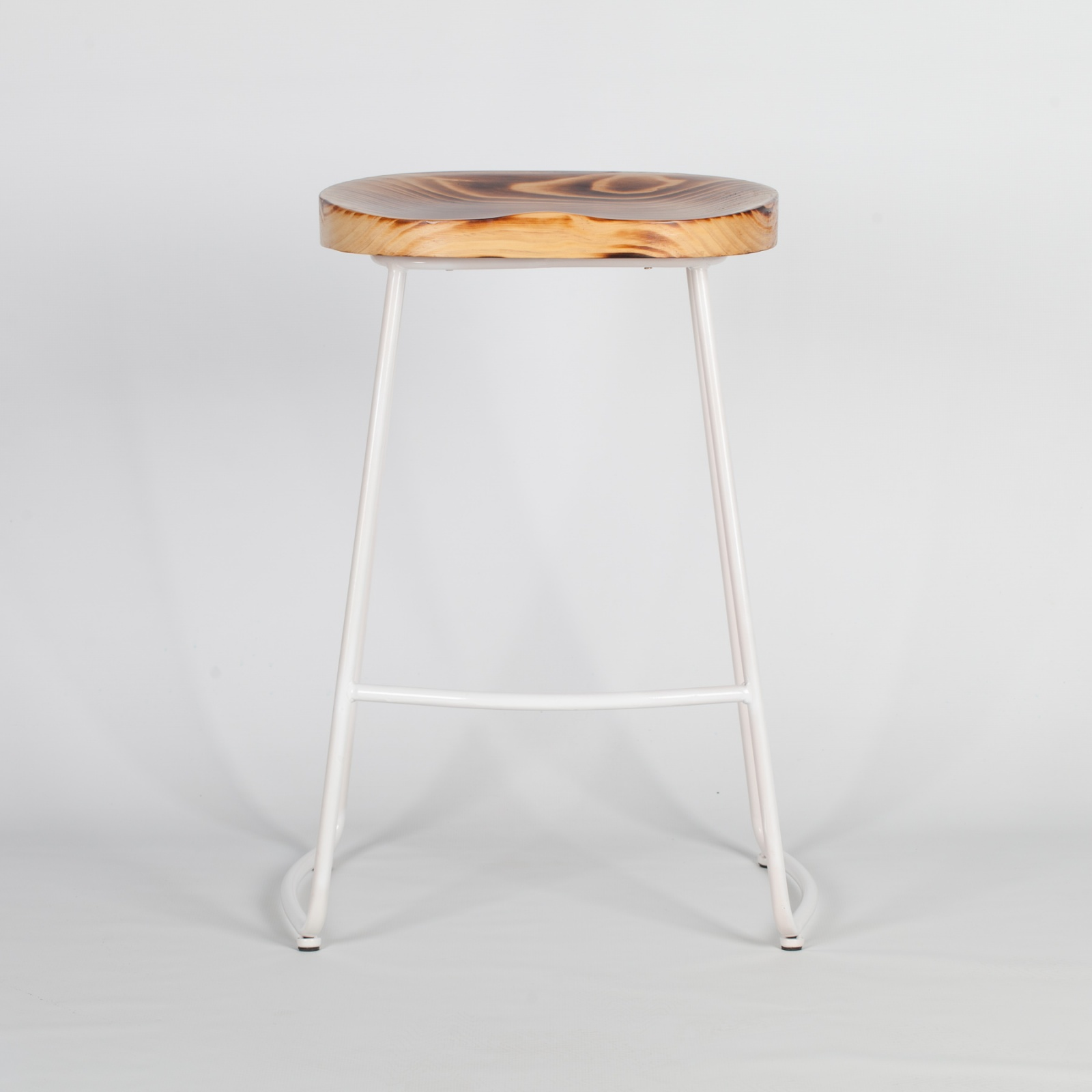 Picture of: Industrial White Tractor Style Wooden Seat Metal Bar Stool Furniture La Maison Chic Luxury Interiors