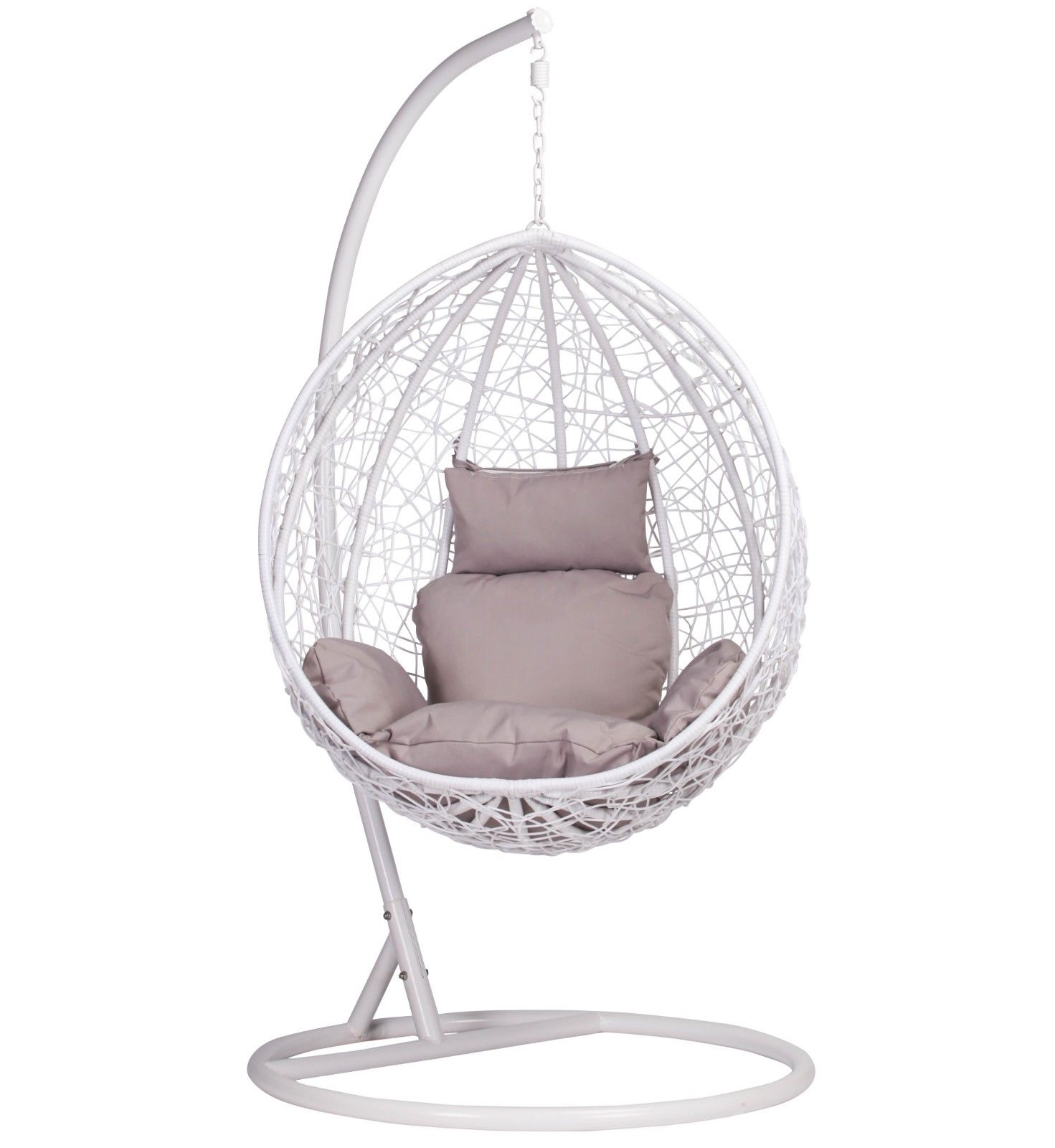 White Rattan Swing Weave Patio Garden Hanging Egg Chair ...