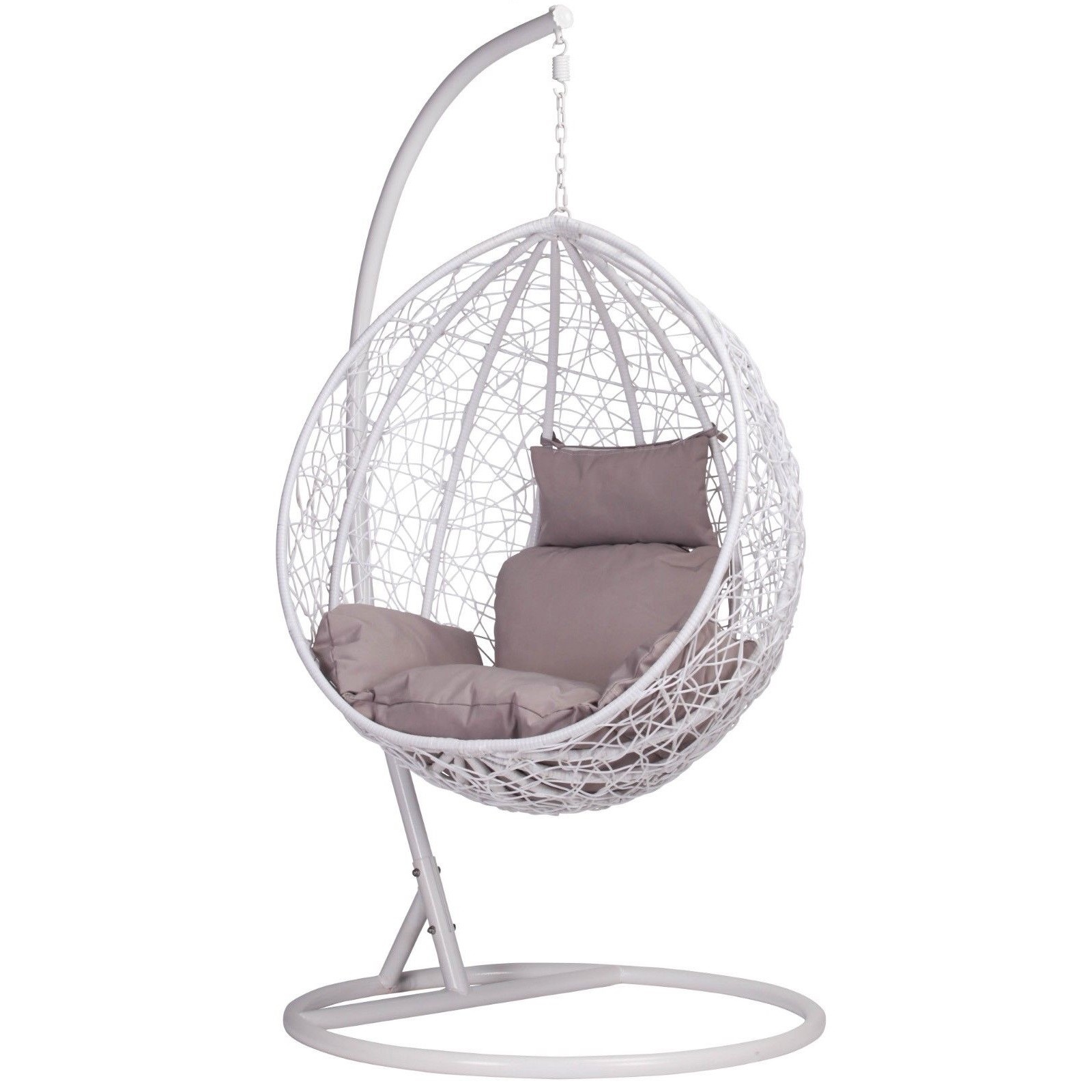 White Rattan Swing Weave Patio Garden Hanging Egg Chair