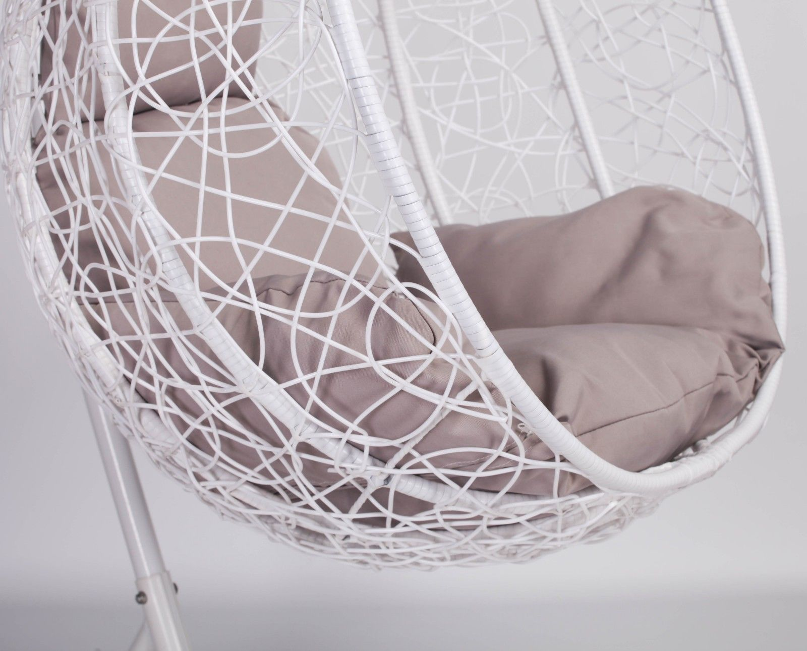 White Rattan Swing Weave Patio Garden Hanging Egg Chair Furniture La Maison Chic Luxury Interiors