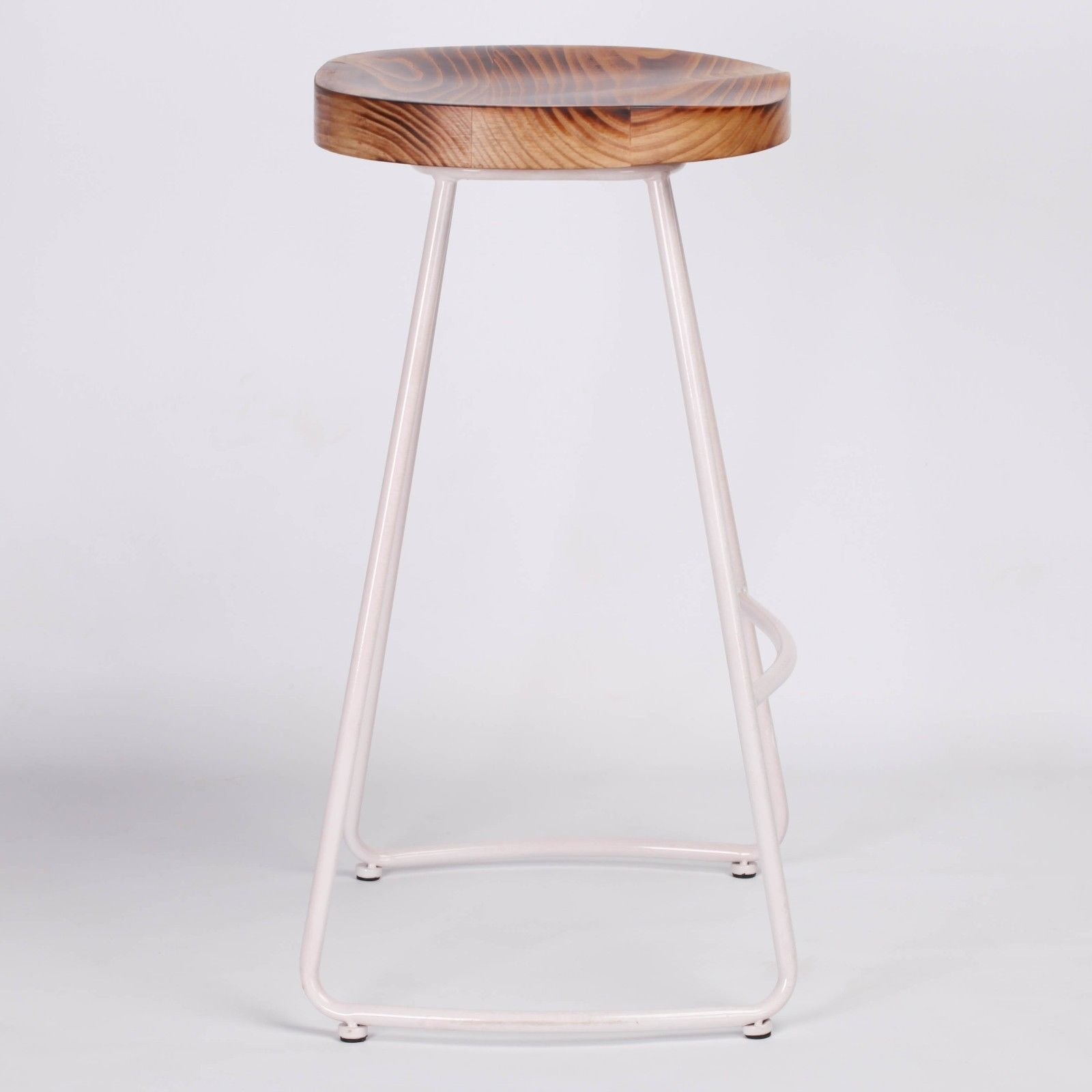 Industrial White Tractor Style Wooden Seat Metal Bar Stool Furniture