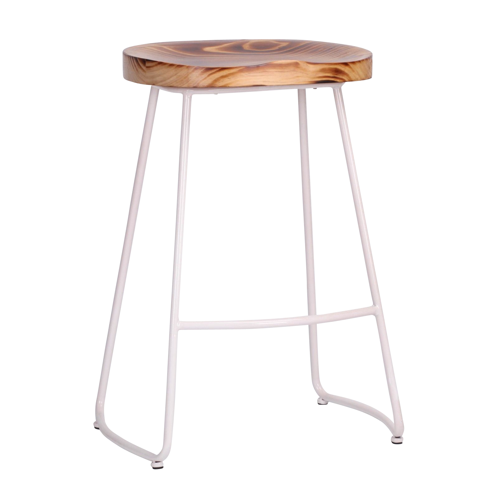 Industrial White Tractor Style Wooden Seat Metal Bar Stool Furniture La Maison Chic Luxury