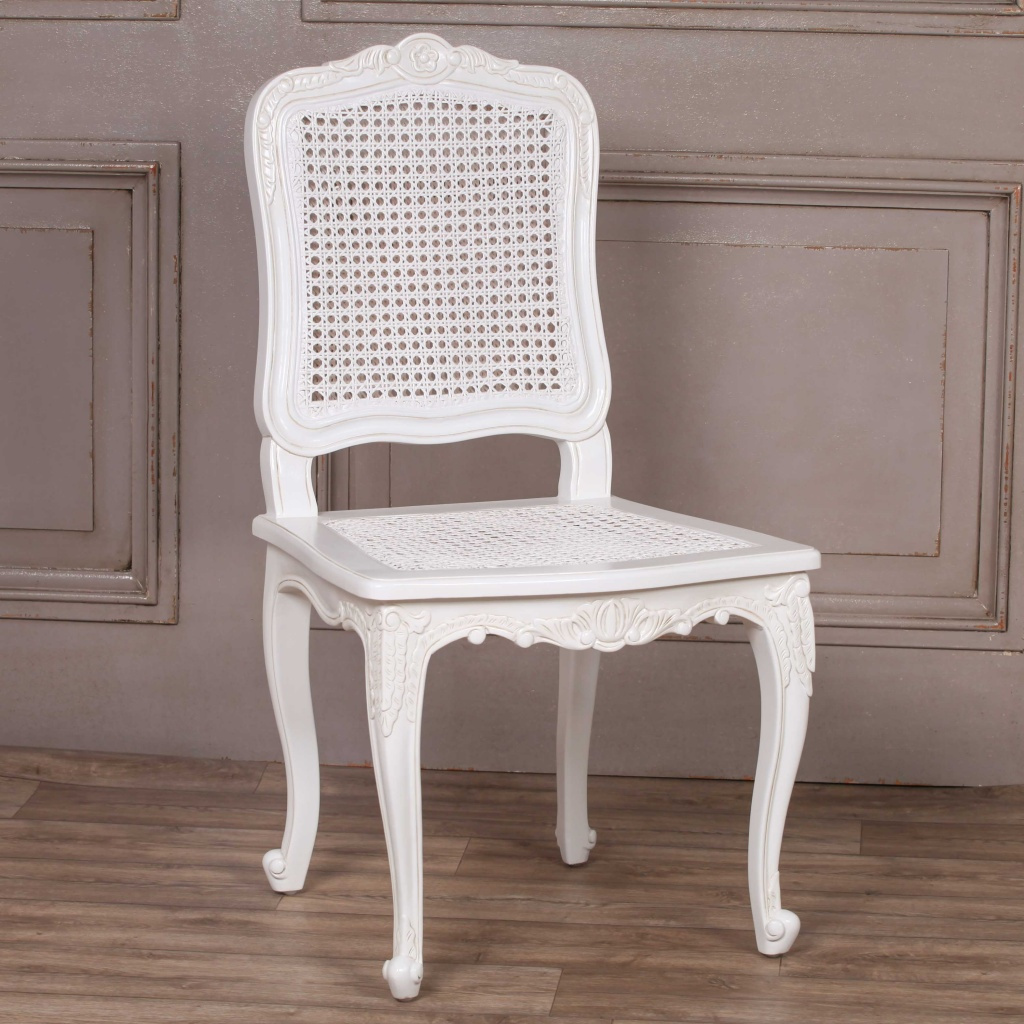 French Provencal White Rattan Chair Furniture