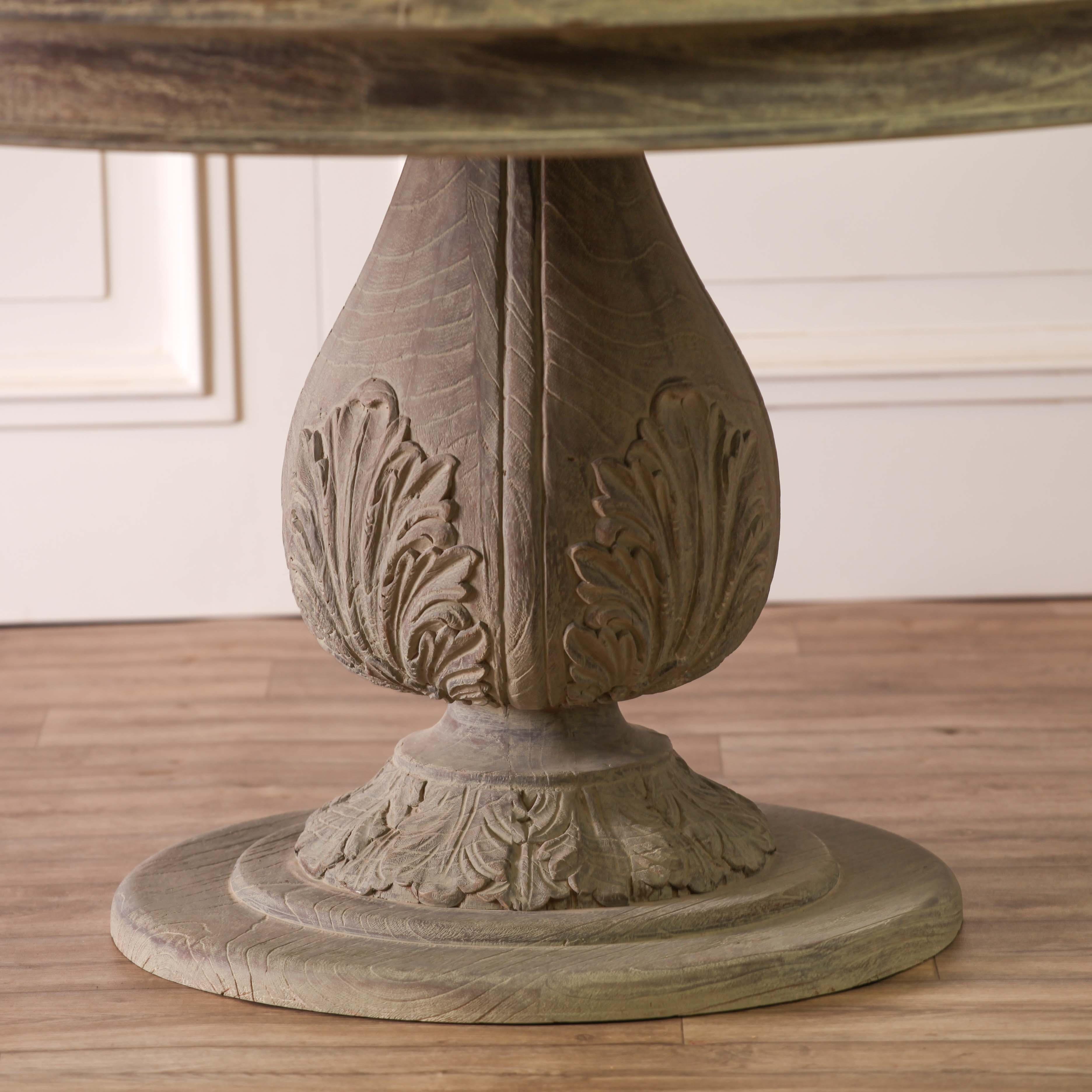 Acorn Pedestal Round Large Washed Dining Table Furniture