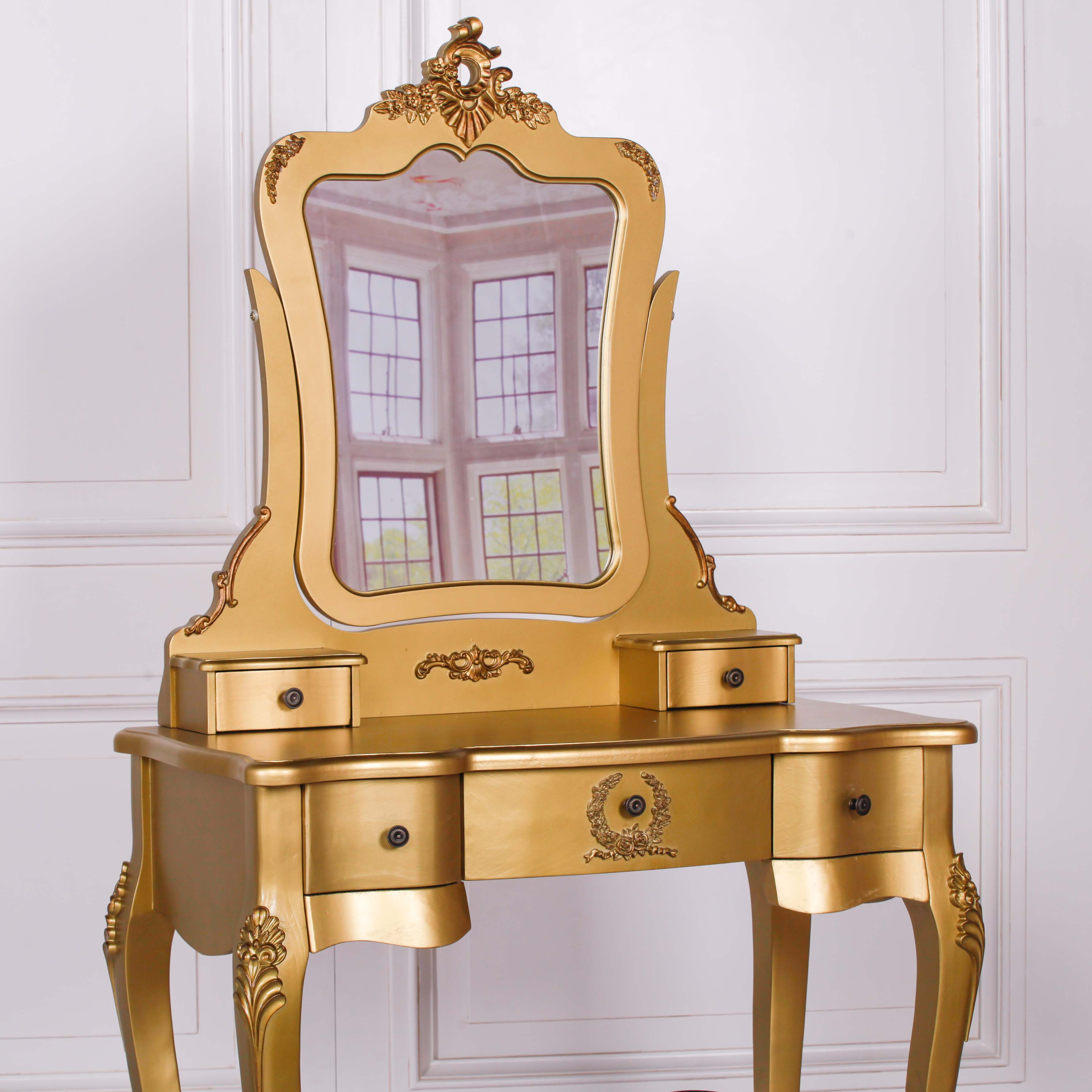 French Style Gold Dressing Table And Stool Furniture La