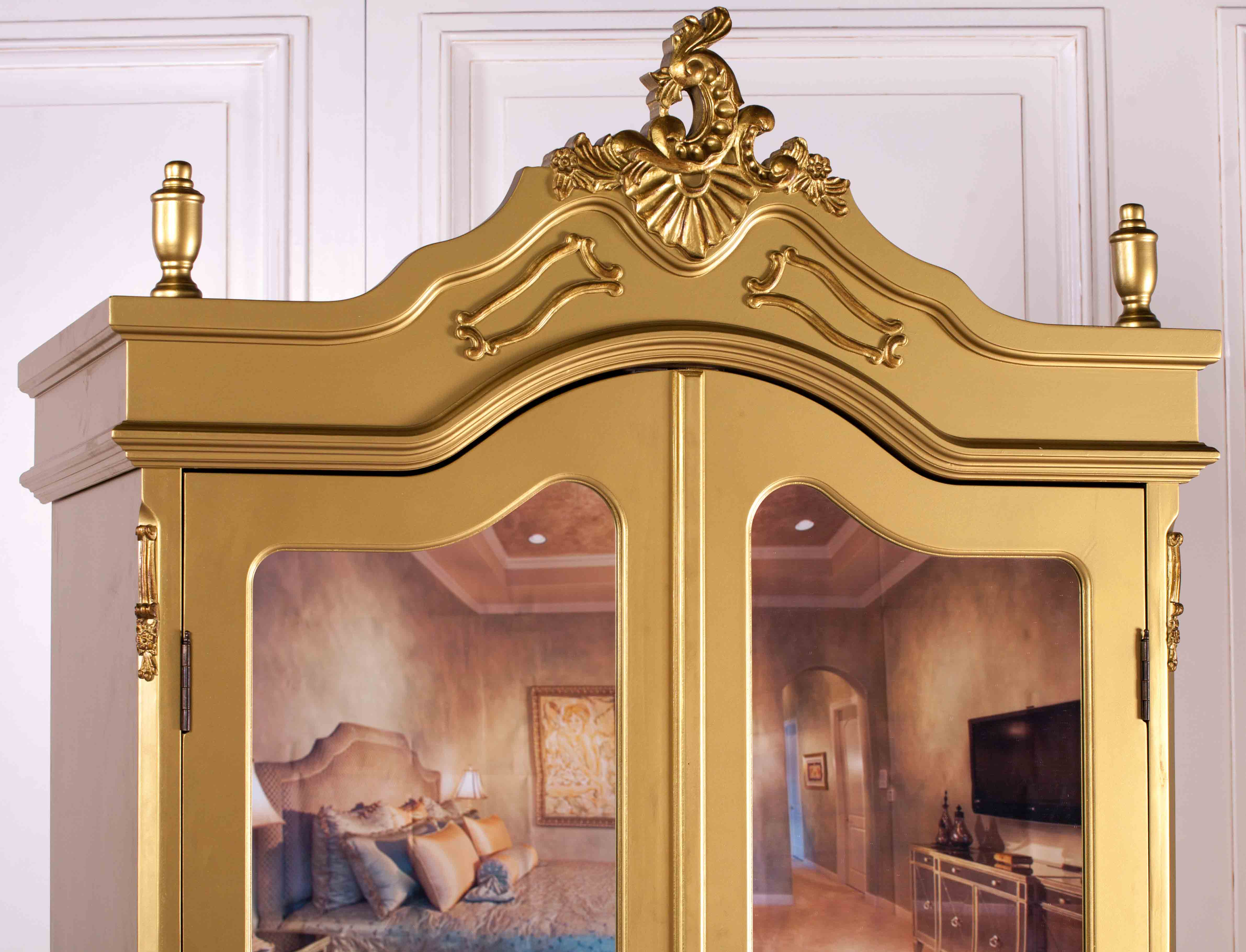 French Antique Gold Double Full Mirrored Armoire Furniture ...