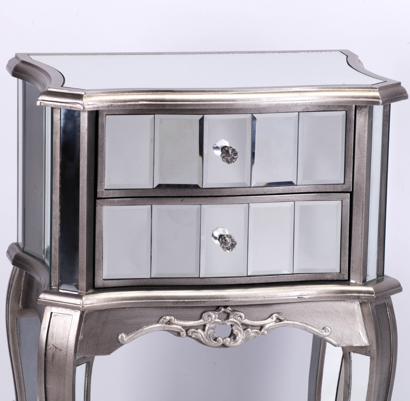 French Style Champagne Silver Venetian Mirror Bedside