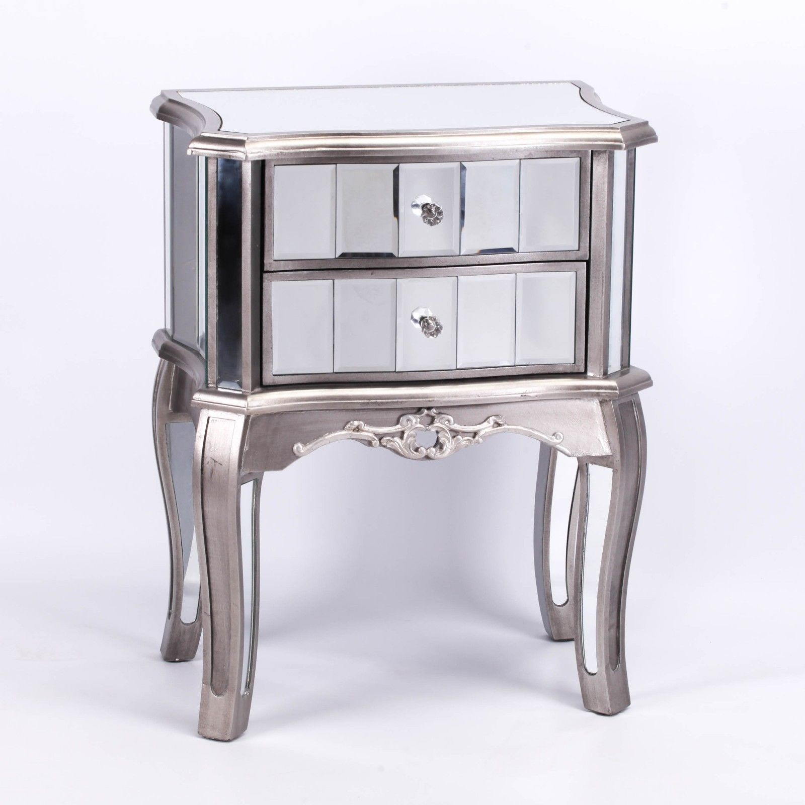 French Style Champagne Silver Venetian Mirror Bedside Furniture La Maison Chic Luxury Interiors