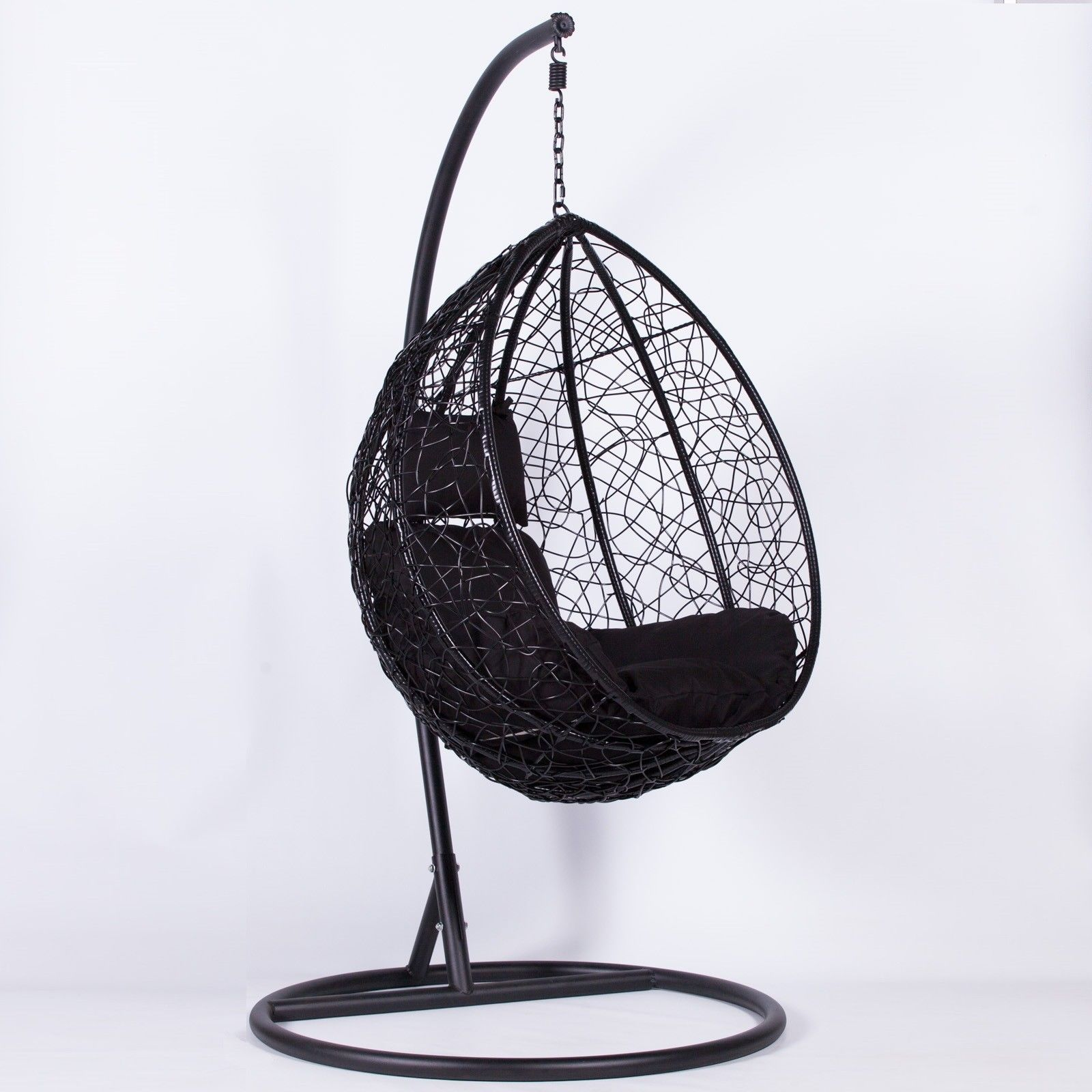 Rattan Black Swing Weave Patio Garden Hanging Egg Chair ...