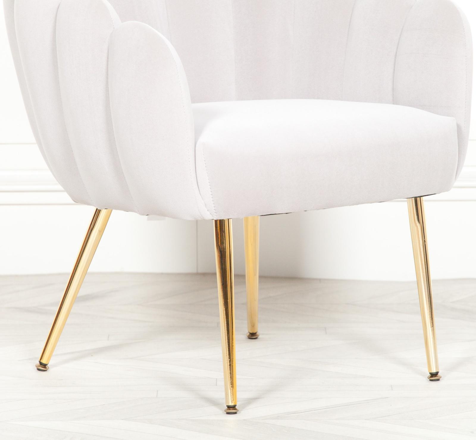 Aurora Art Deco Grey Velvet Scalloped Occasional Chair