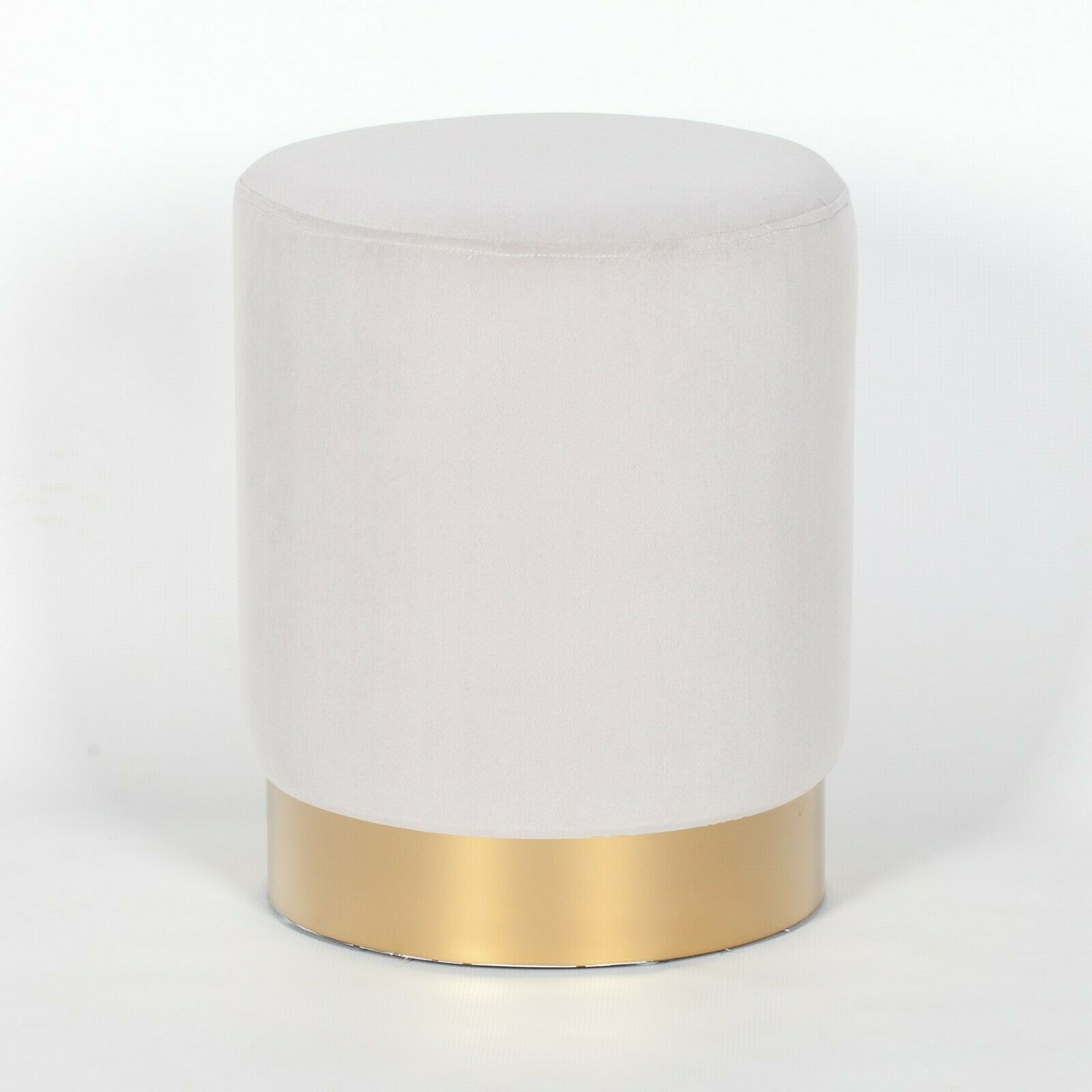 Amour Light Grey Velvet Pouffe Gold Trim Round Stool Ottoman Furniture La Maison Chic Luxury Interiors
