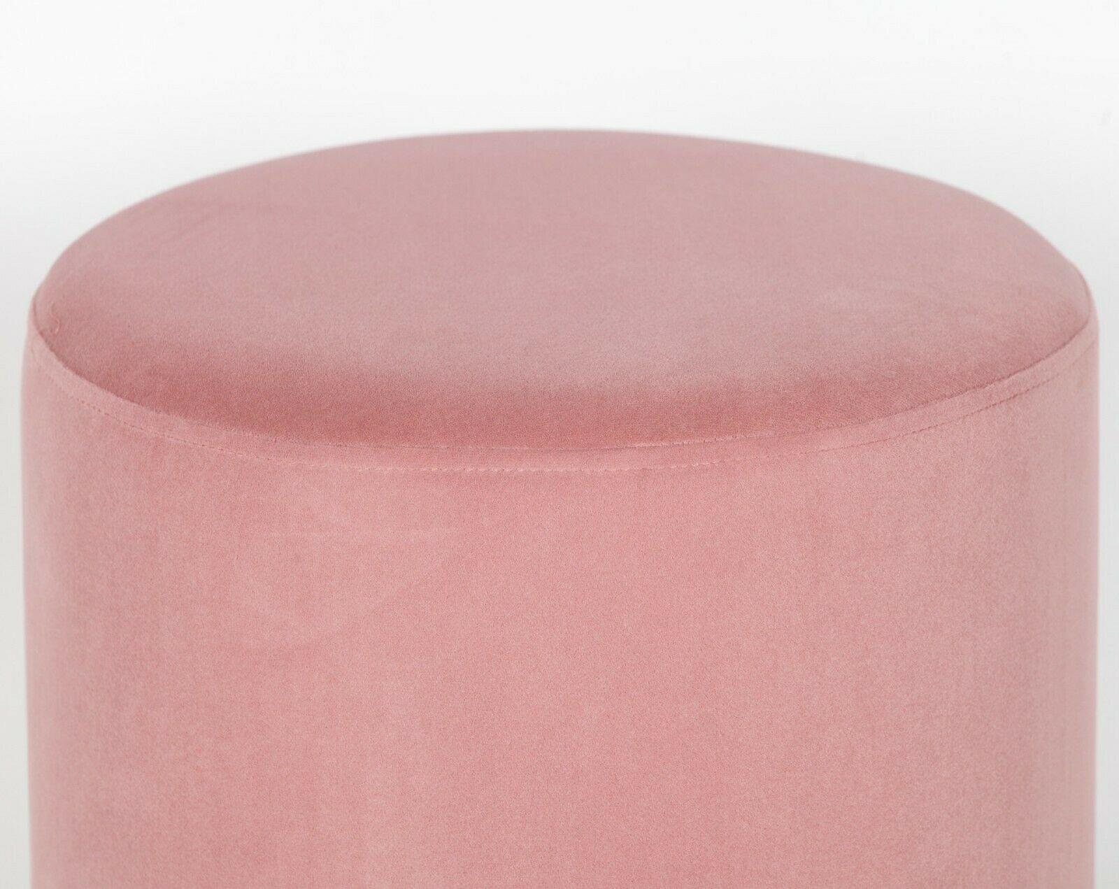 Amour Pink Velvet Gold Trim Round Pouffe Upholstered Stool
