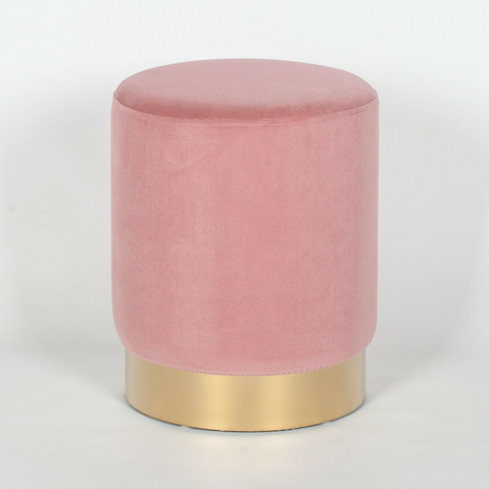 Amour Pink Velvet Gold Trim Round Pouffe Upholstered Stool