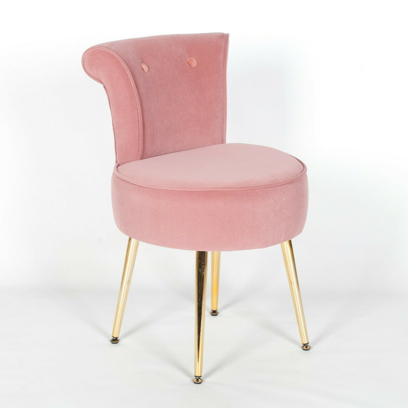 Amour Velvet Pink Gold Legs Dressing Table Stool Upholstered Bedroom Chair