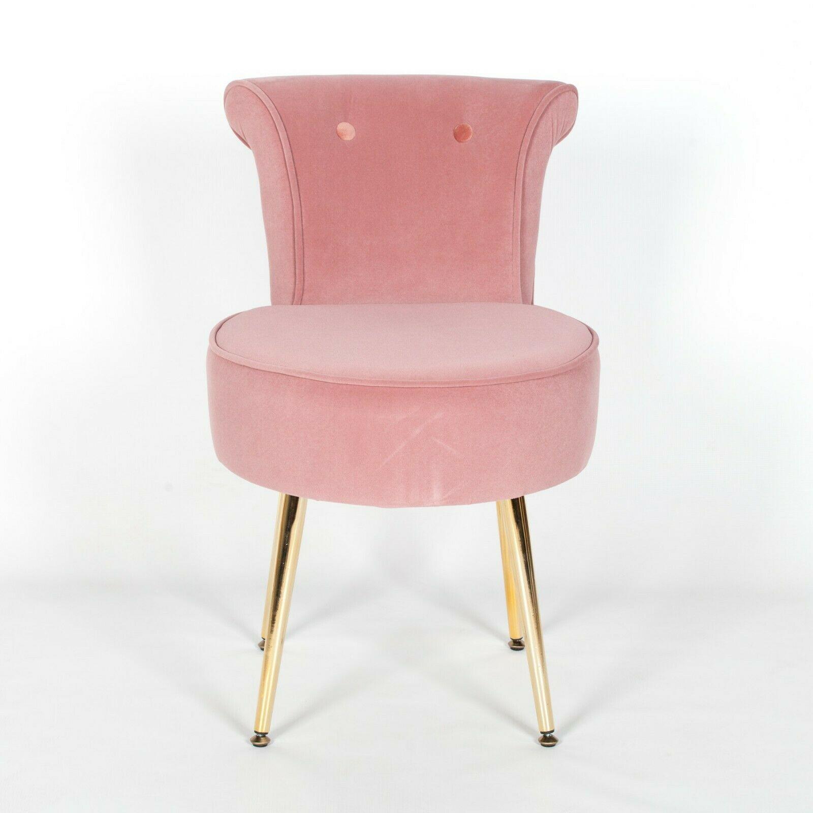 Amour Velvet Pink Gold Legs Dressing Table Stool