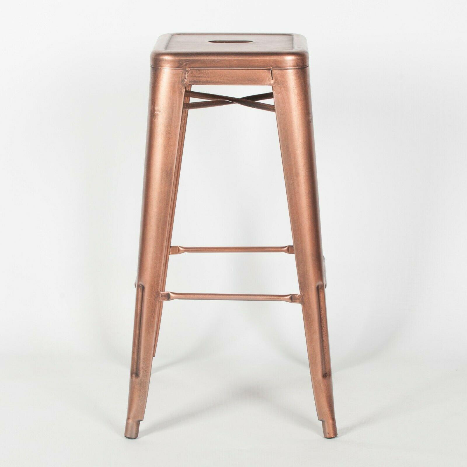 Tolix Inspired Vintage Copper Rose Gold Bar Stool Furniture La Maison Chic Luxury Interiors