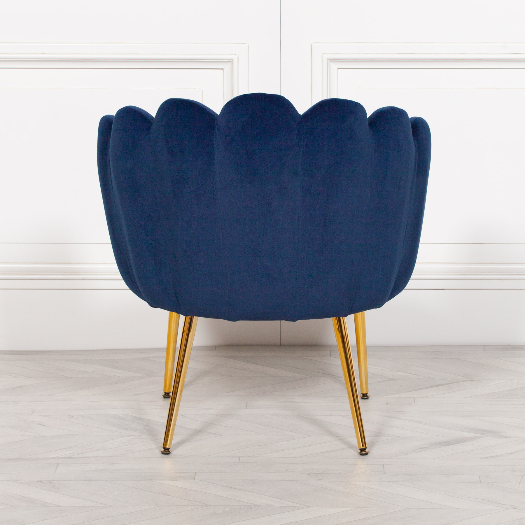 Picture of: Aurora Art Deco Navy Blue Velvet Scalloped Occasional Chair Gold Legs Shell Armchair Furniture La Maison Chic Luxury Interiors