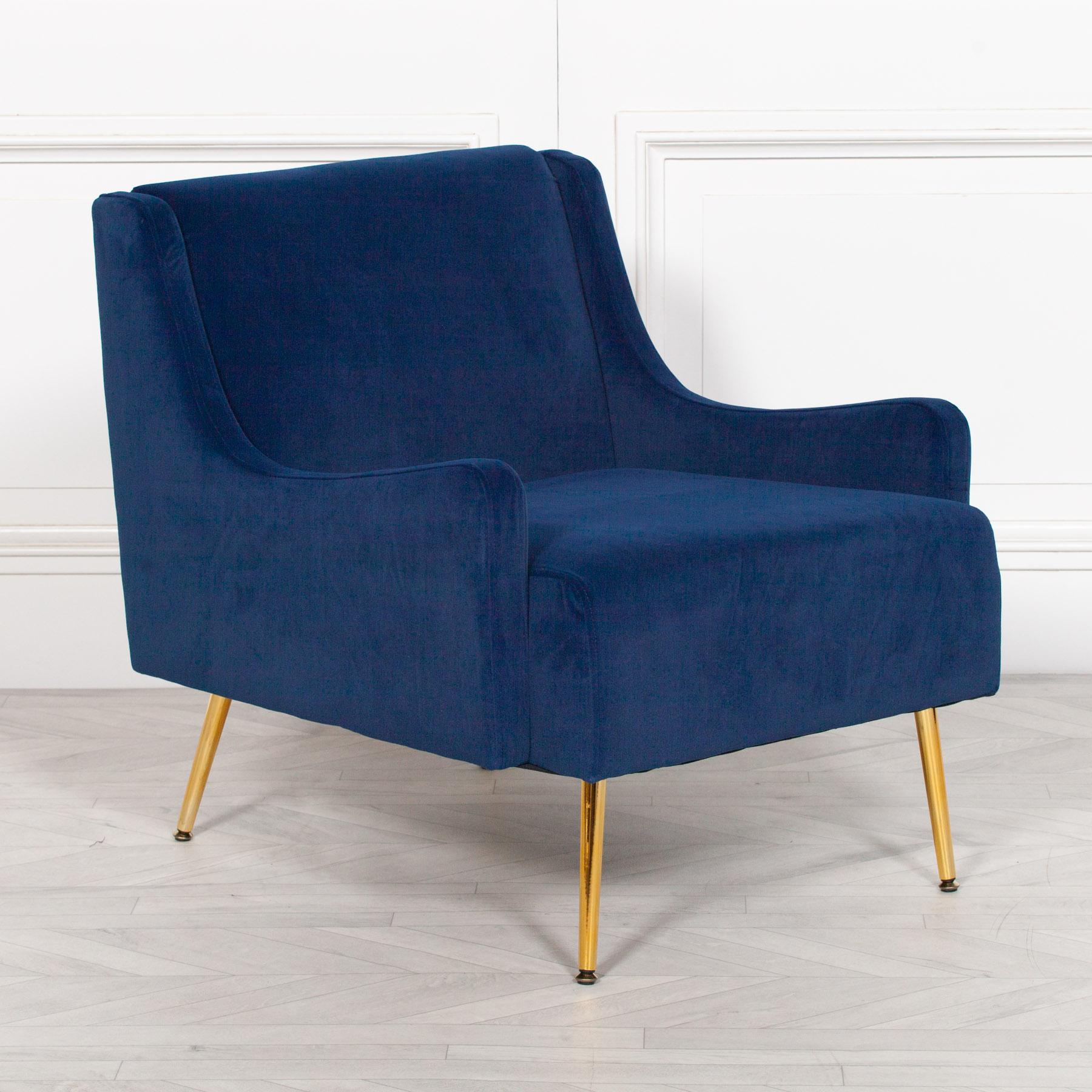 Picture of: Aurelie Navy Blue Velvet Sofa Chair Furniture La Maison Chic Luxury Interiors