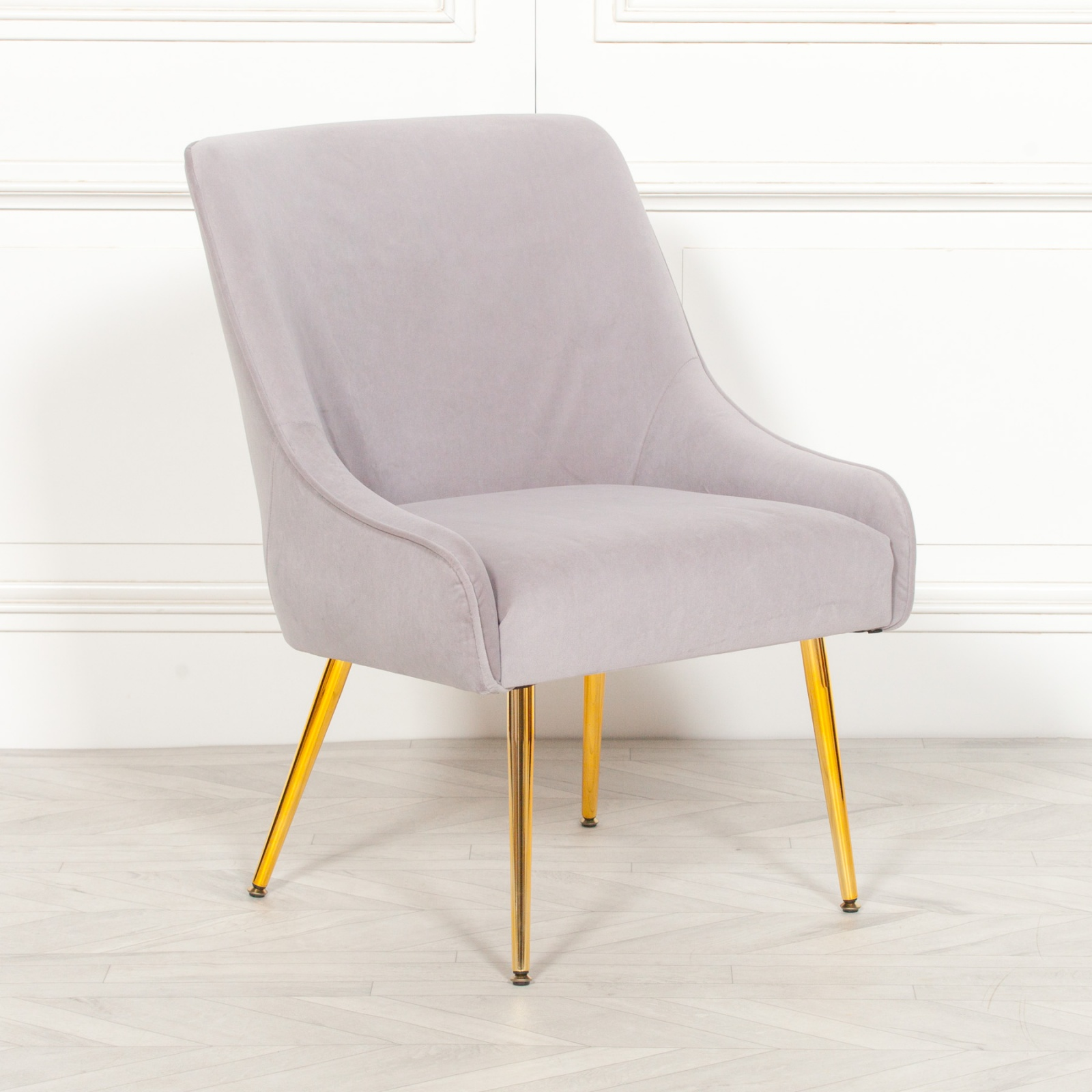 Aurelie Grey Velvet Dining Chair With Gold Legs Furniture La Maison Chic Luxury Interiors
