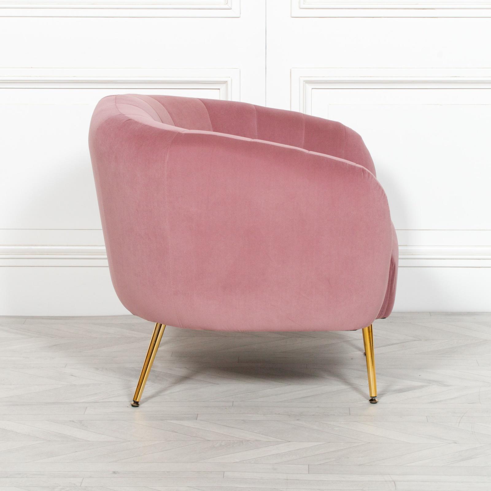 Adeline Pink Velvet Tub Armchair Furniture - La Maison ...